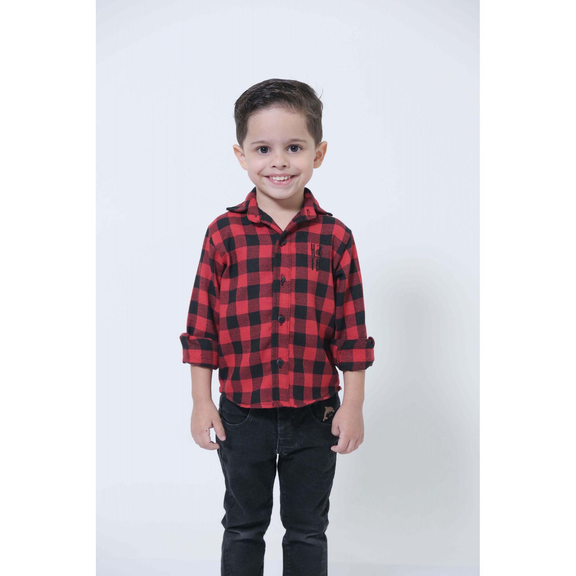 Camisa Social Xadrez Flanelada Lenhador Infantil