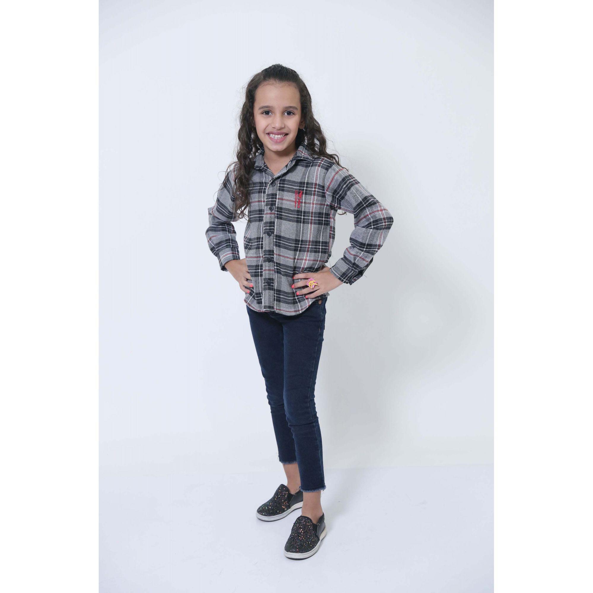 Camisa Social Xadrez Flanelada Urso Infantil  - Heitor Fashion Brazil