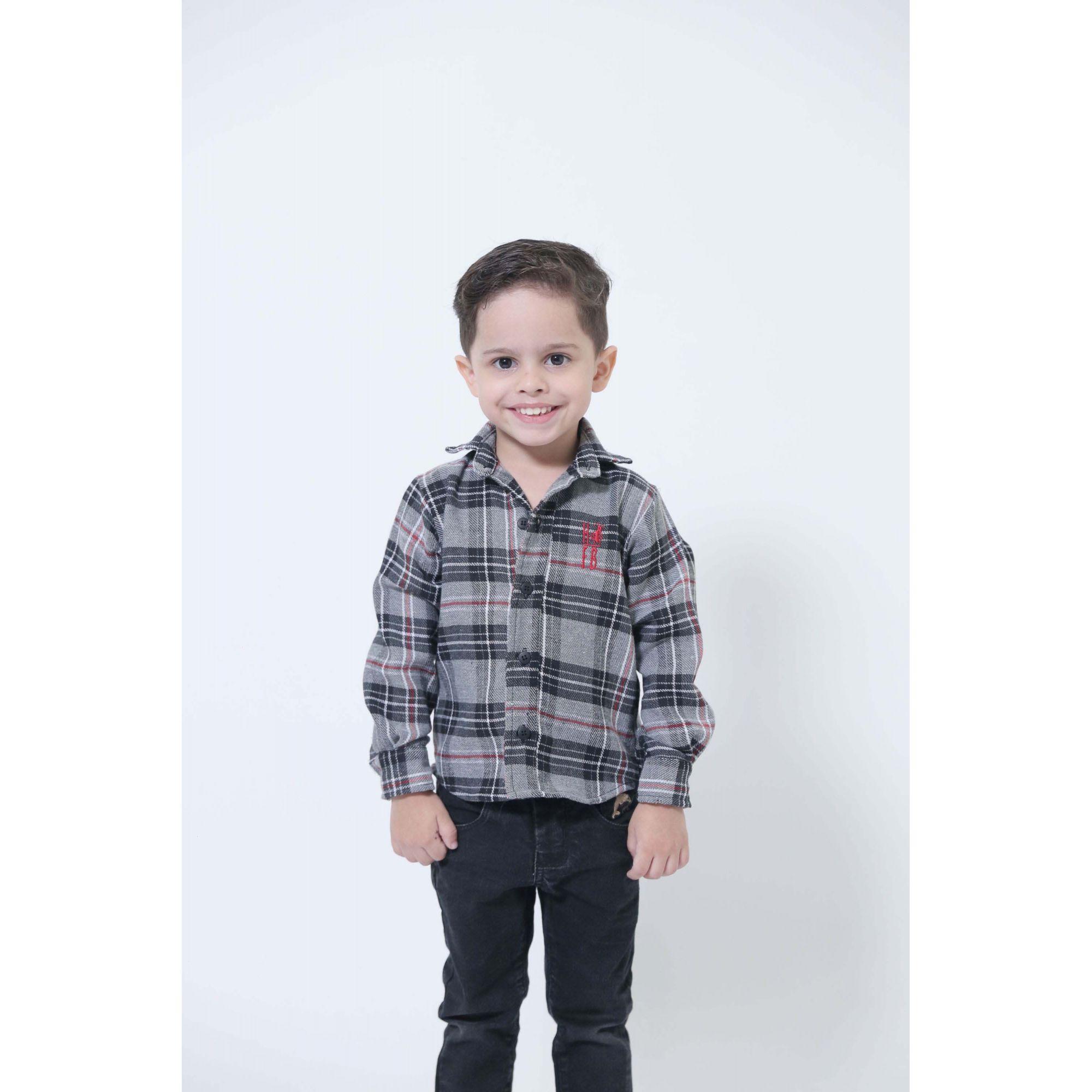 Camisa Social Xadrez Flanelada Urso Infantil