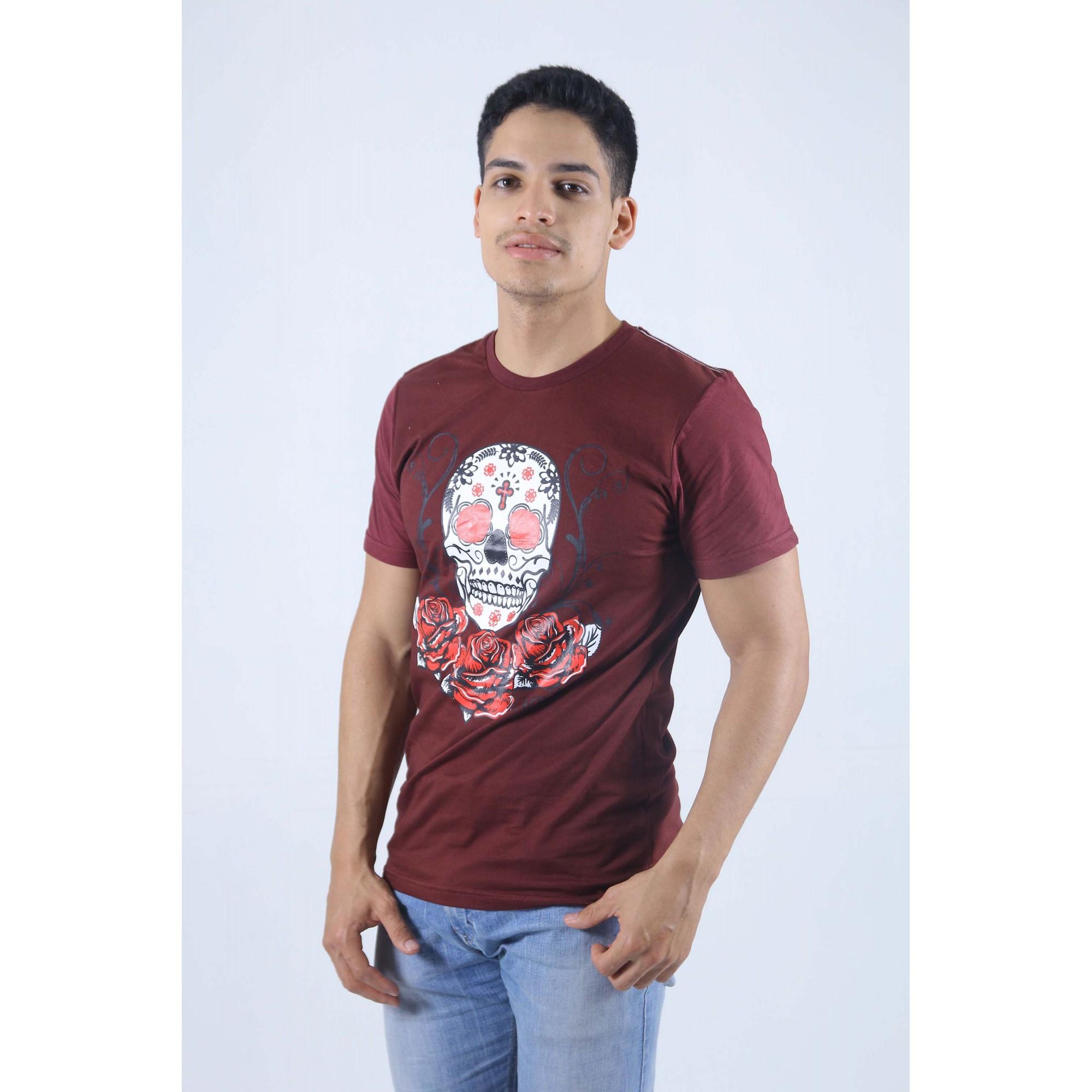 Camiseta Bordo Caveira Mexicana  - Heitor Fashion Brazil
