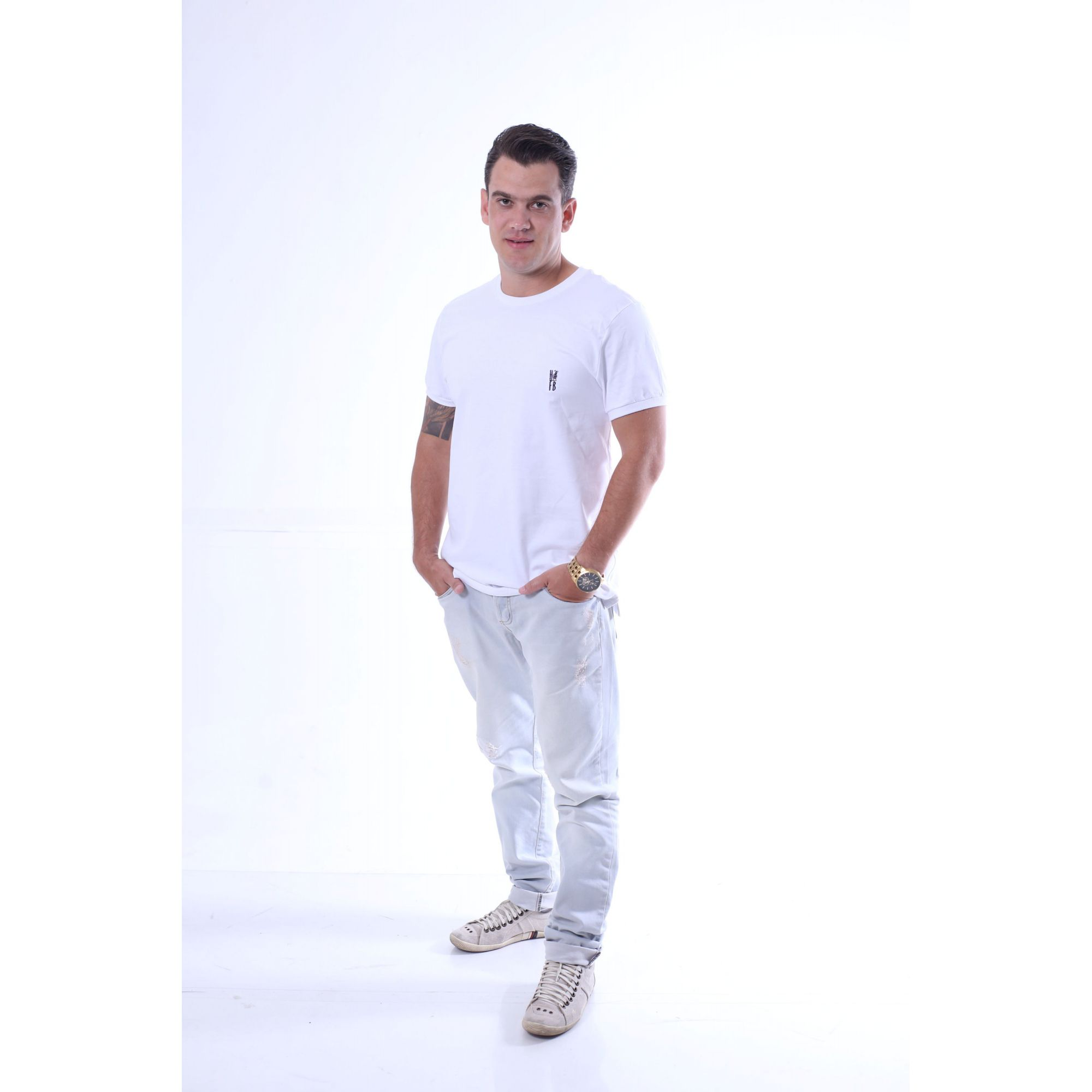 Camiseta Branca Malha Menegotti - Premium  - Heitor Fashion Brazil