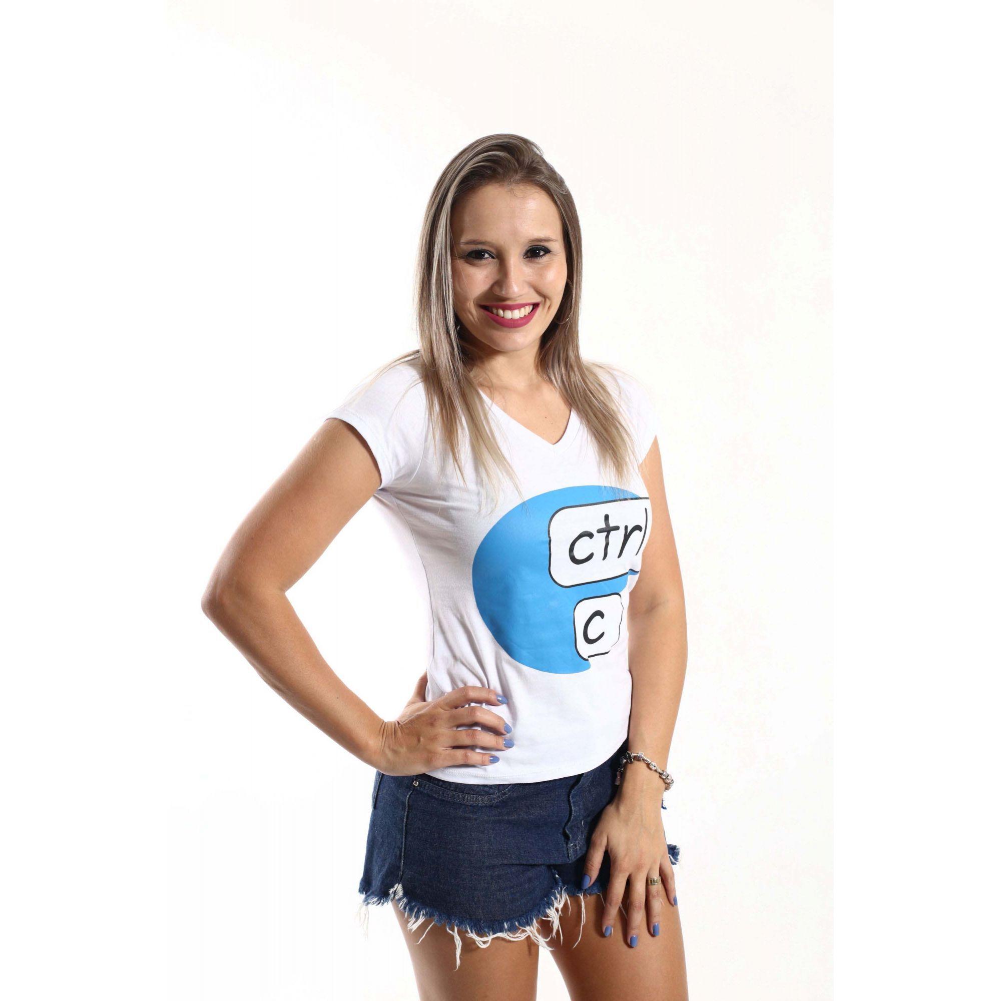 Camiseta Feminina Ctrl-C Branca  - Heitor Fashion Brazil