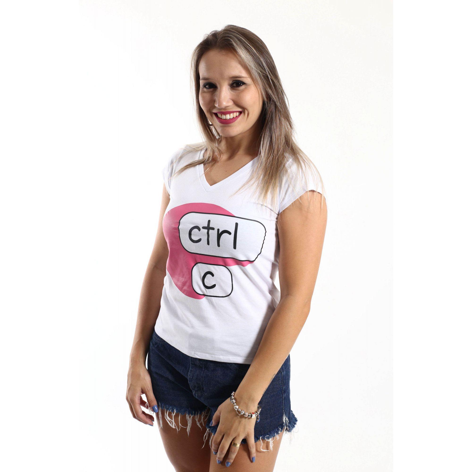 Camiseta Feminina Ctrl-C Rosa  - Heitor Fashion Brazil