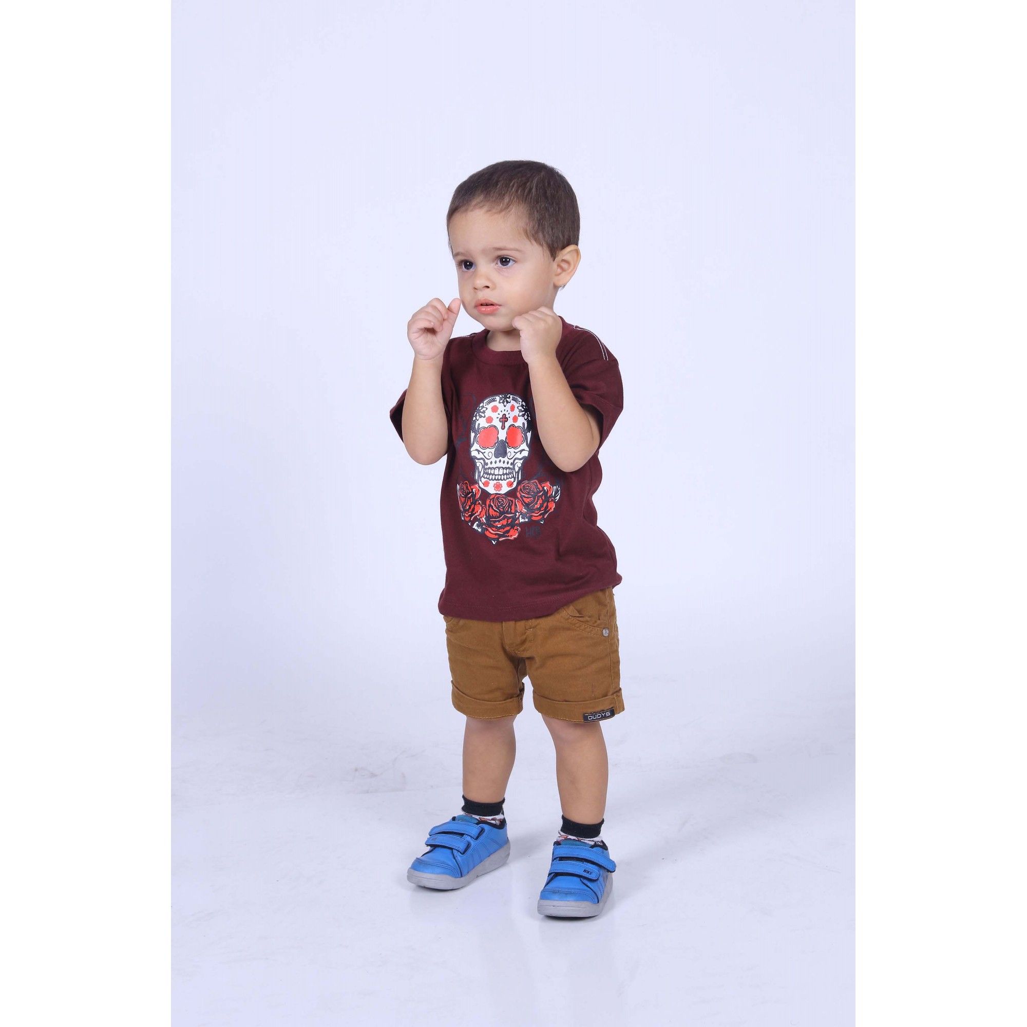 Camiseta Infantil Bordo Caveira Mexicana