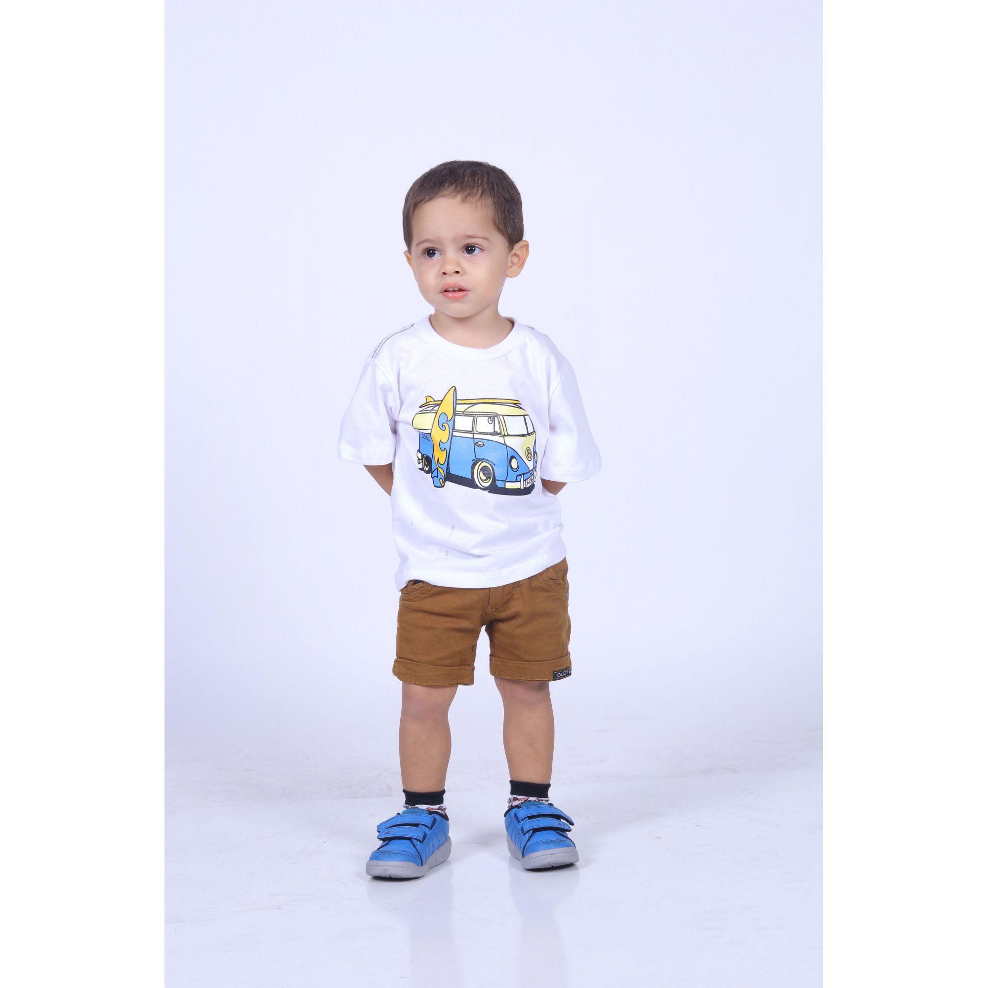 Camiseta Infantil Branca Kombi