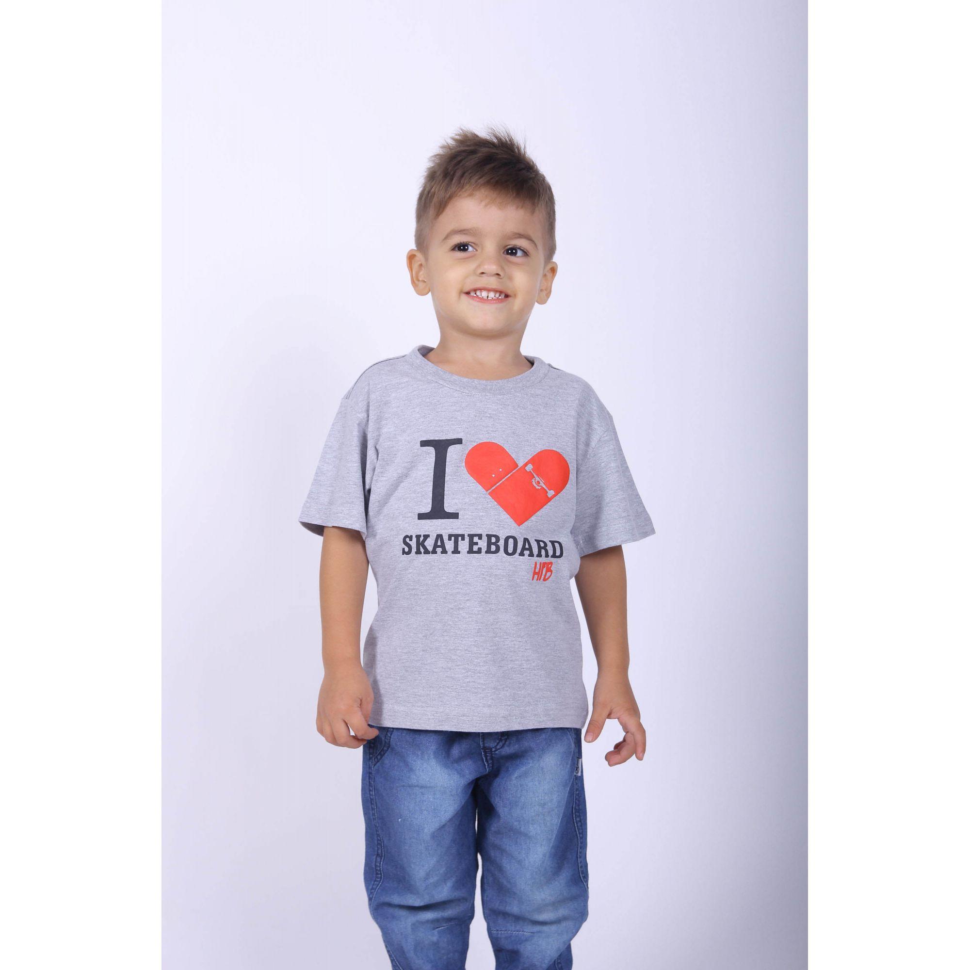 Camiseta Infantil Cinza Skate  - Heitor Fashion Brazil