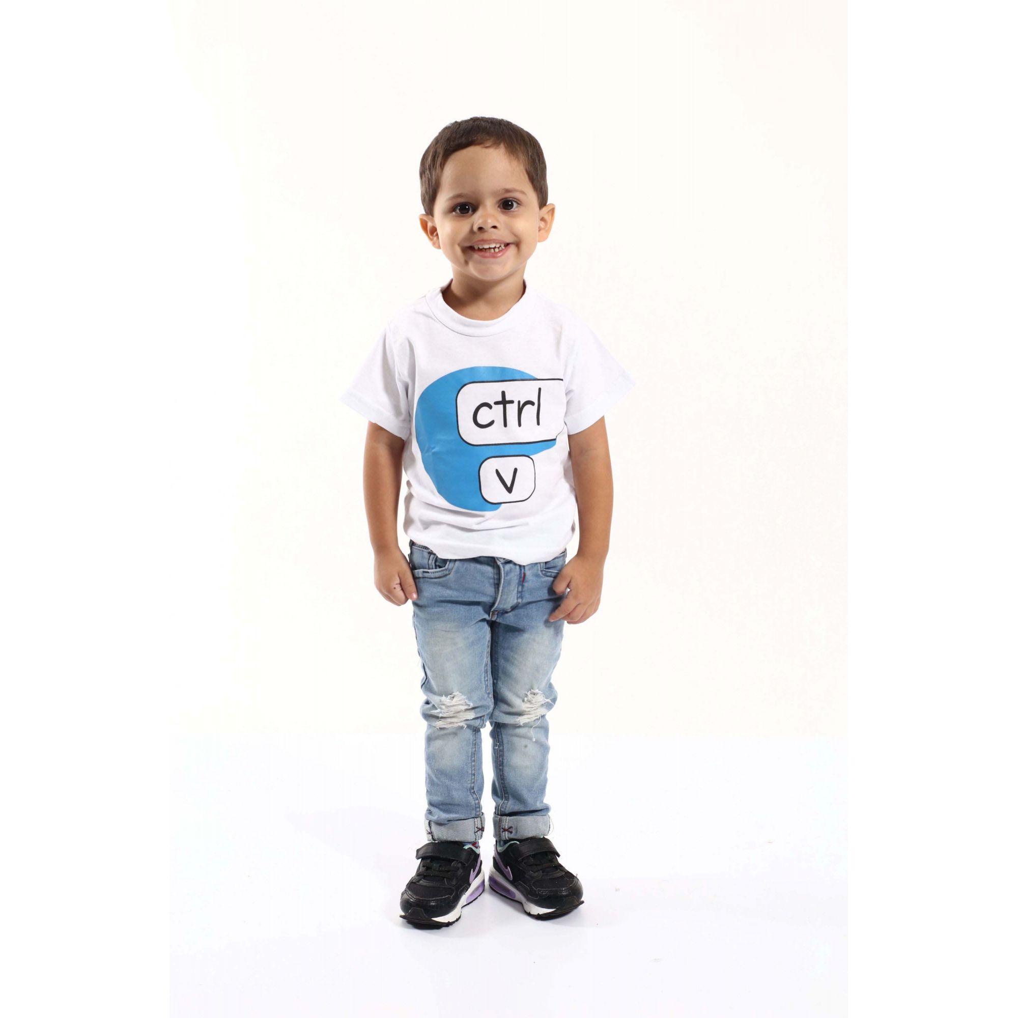 Camiseta Infantil Ctrl-C Branca ou Body de Bebê