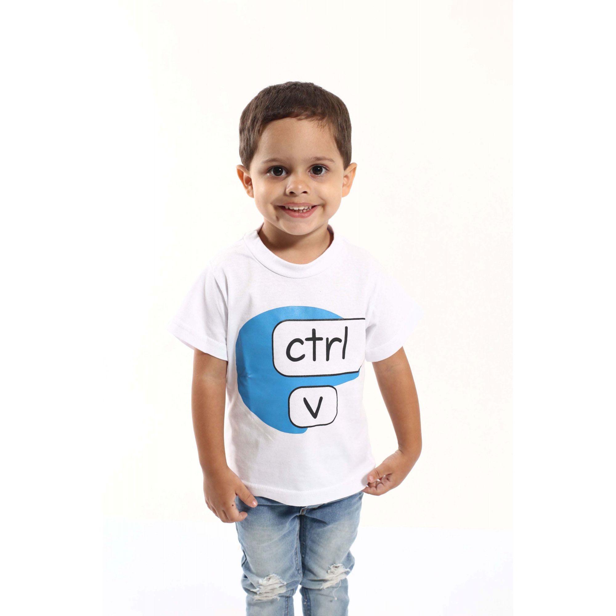 Camiseta Infantil Ctrl-C Branca ou Body de Bebê  - Heitor Fashion Brazil