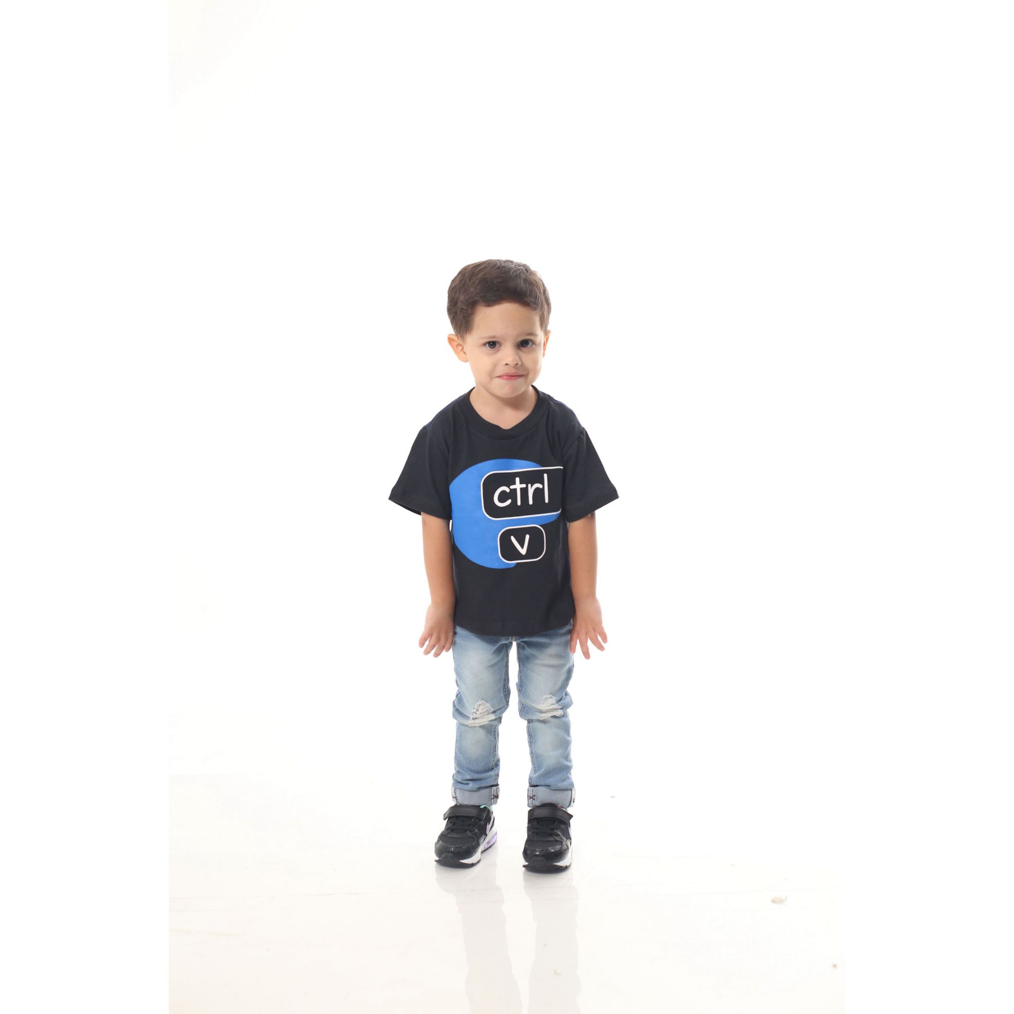 Camiseta Infantil Ctrl-C Preta ou Body de Bebê