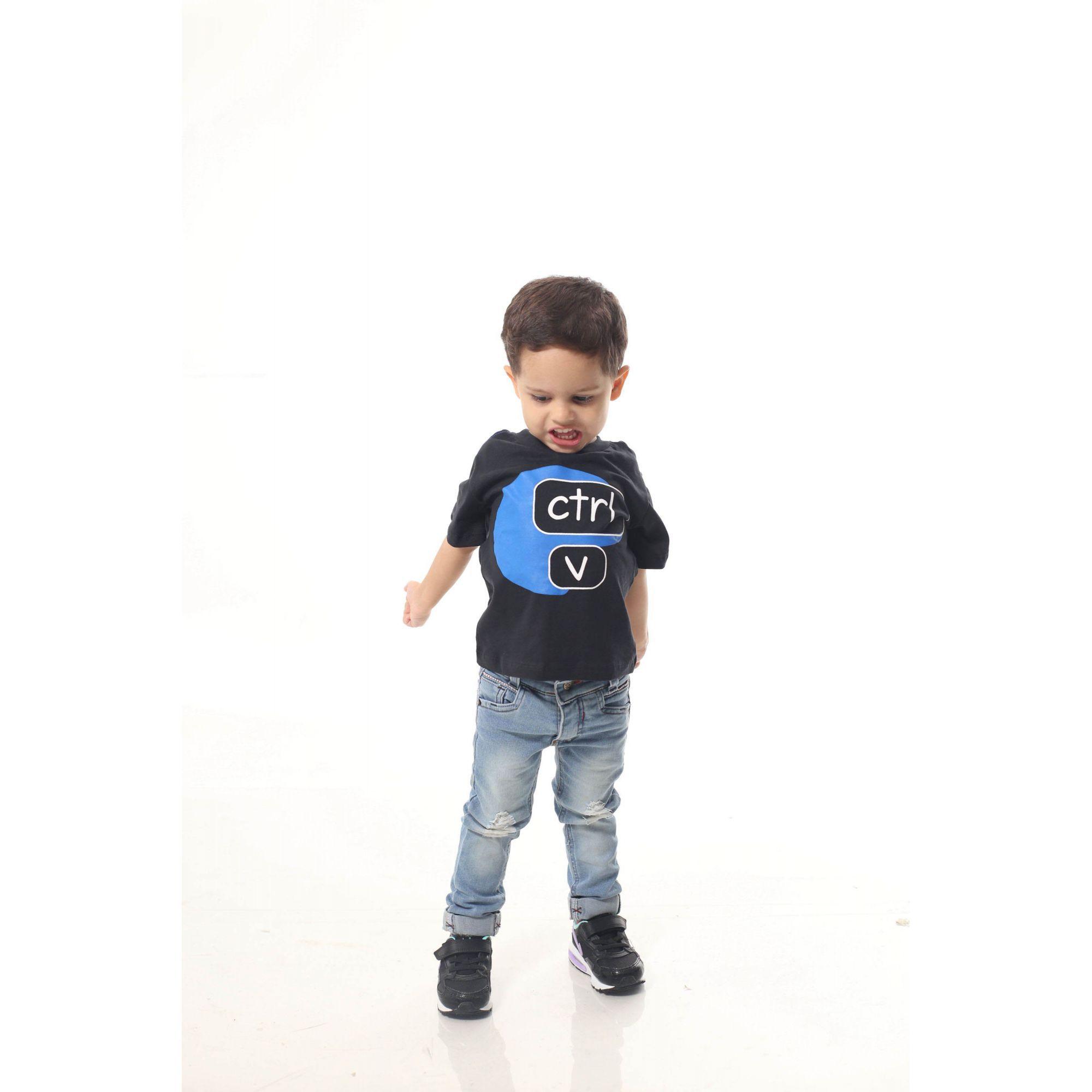 Camiseta Infantil Ctrl-C Preta ou Body de Bebê  - Heitor Fashion Brazil