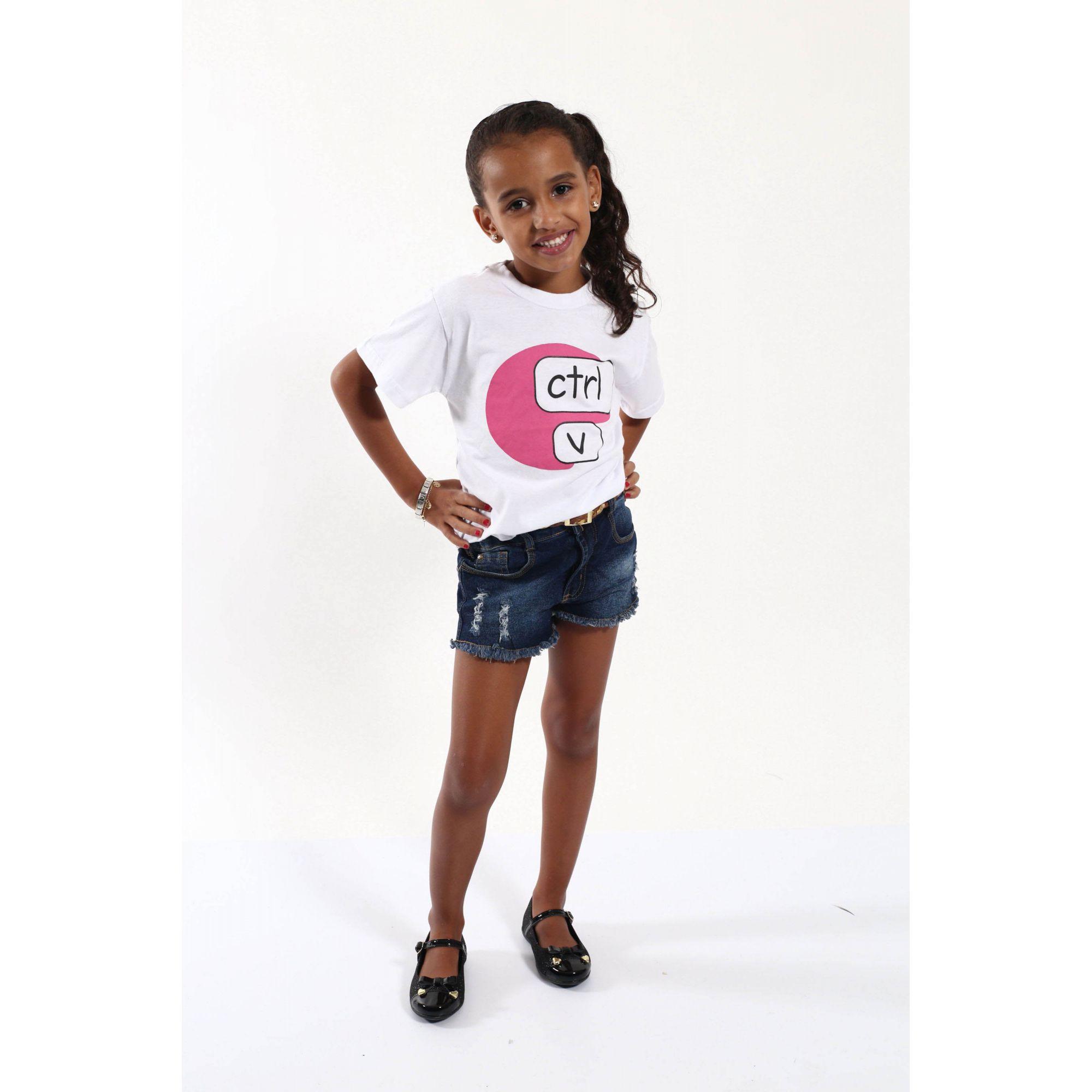 Camiseta Infantil Ctrl-V Rosa  - Heitor Fashion Brazil