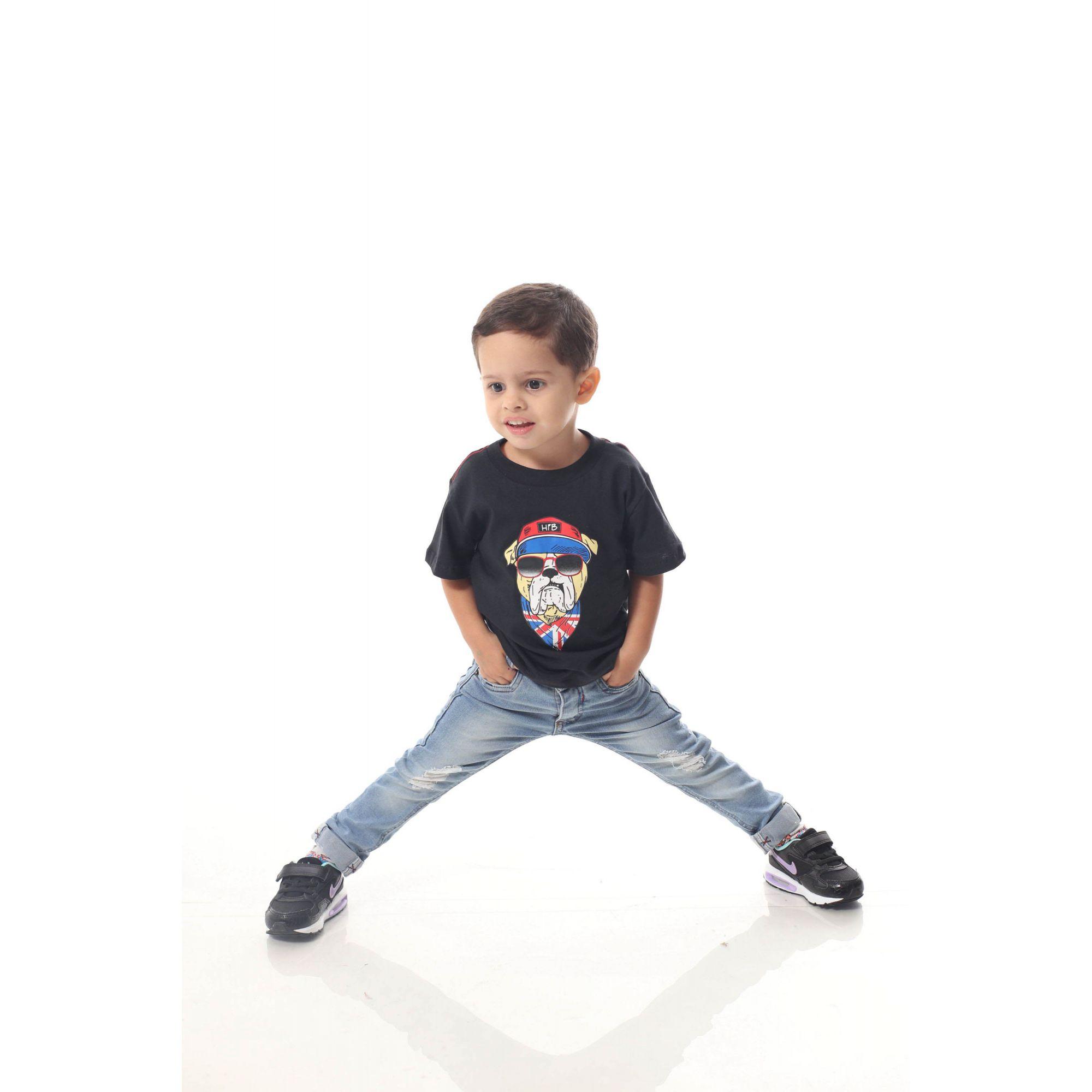 Camiseta Infantil Menino Preta Cachorro Bulldog Inglês  - Heitor Fashion Brazil