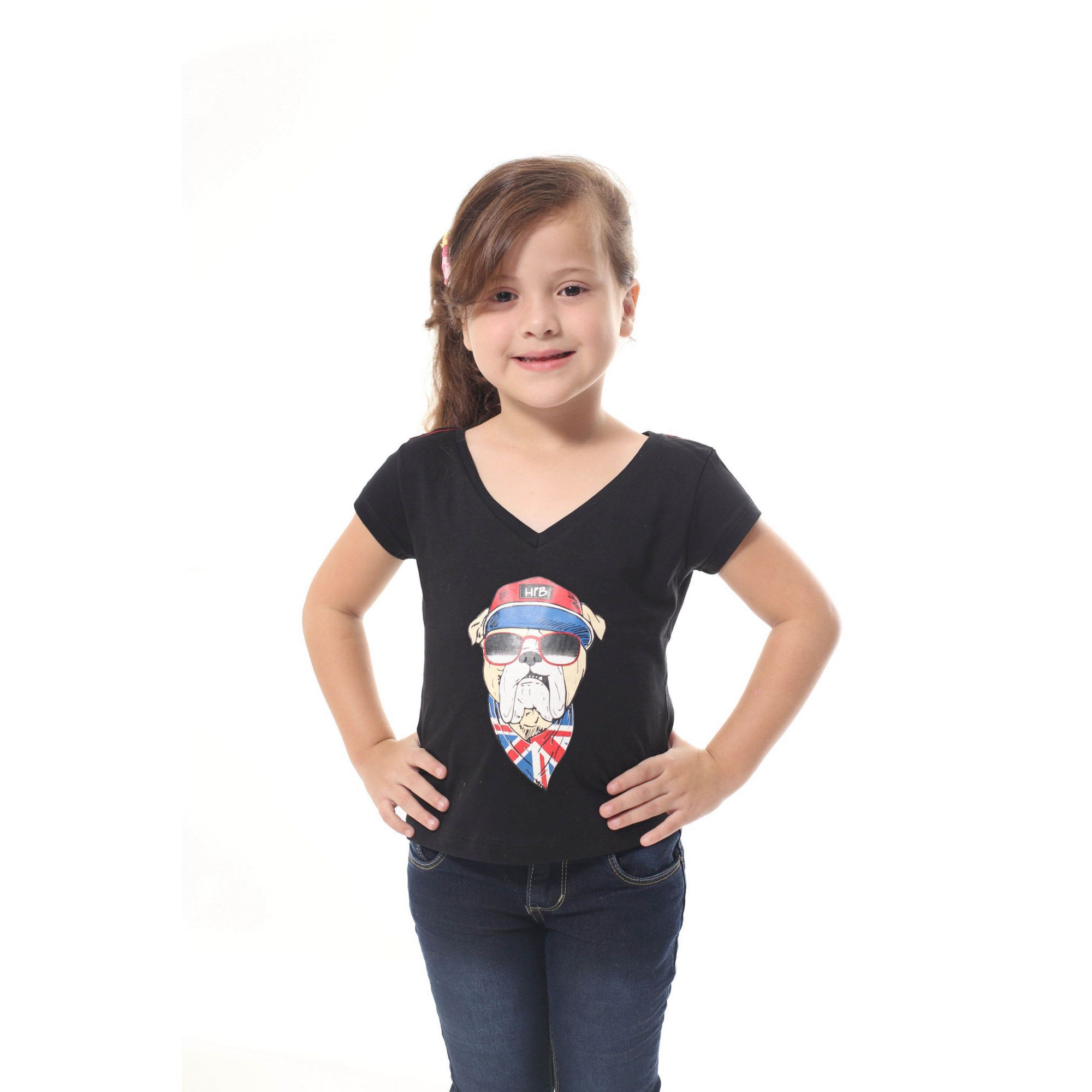 Camiseta Infantil menina Preta Cachorro Bulldog Inglês