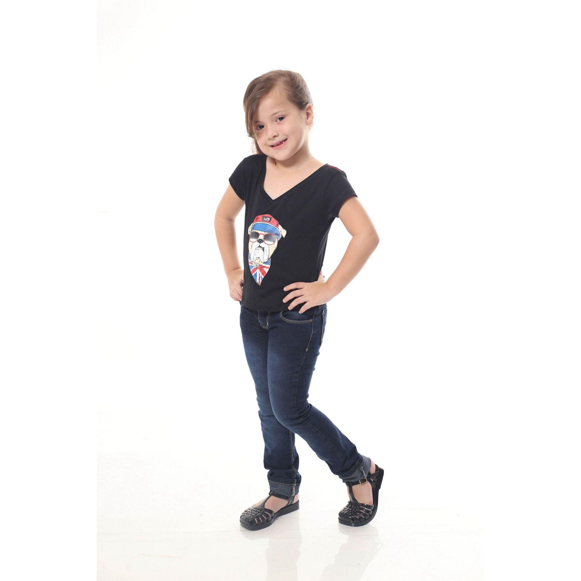 Camiseta Infantil menina Preta Cachorro Bulldog Inglês  - Heitor Fashion Brazil