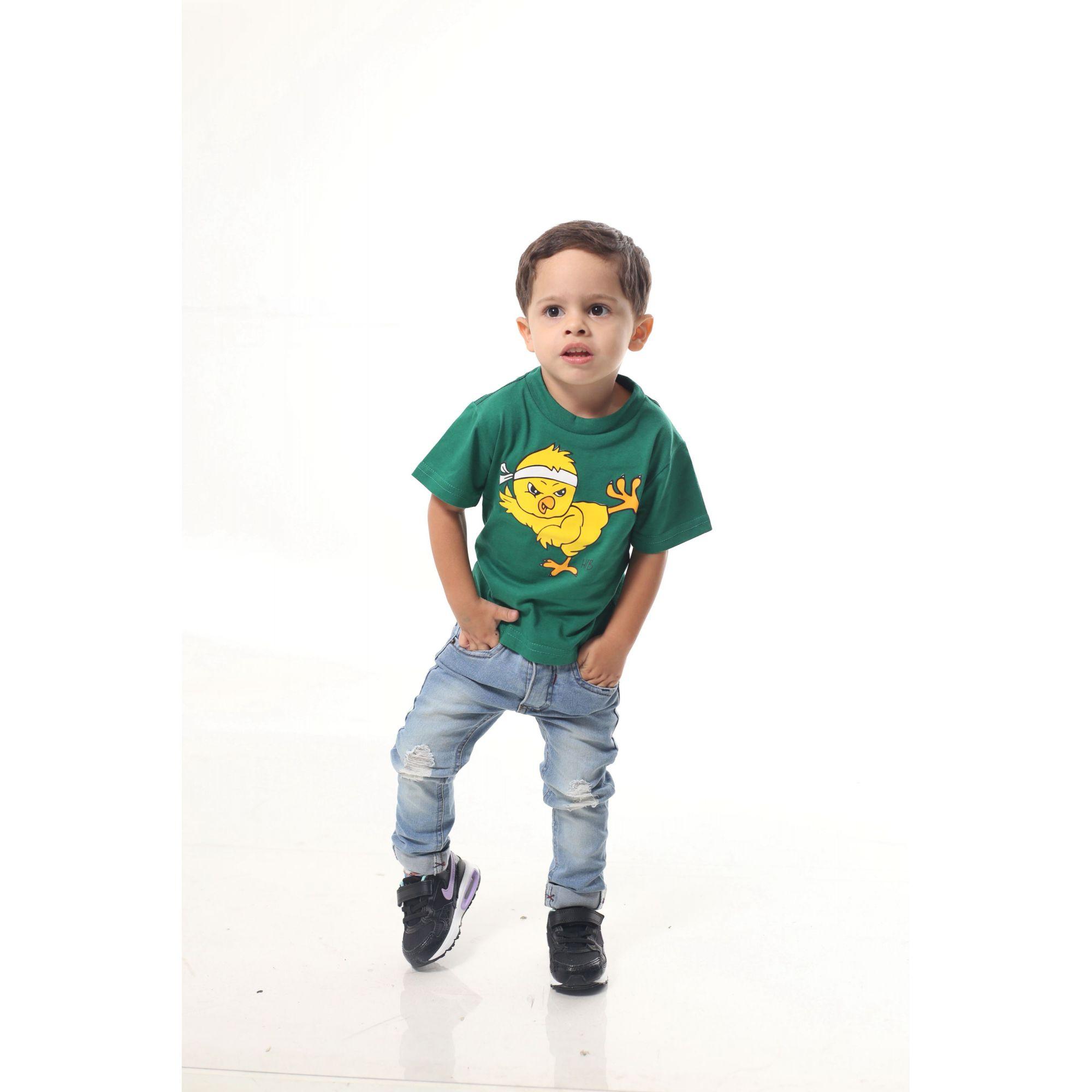 Camiseta Infantil Verde Pintinho  - Heitor Fashion Brazil