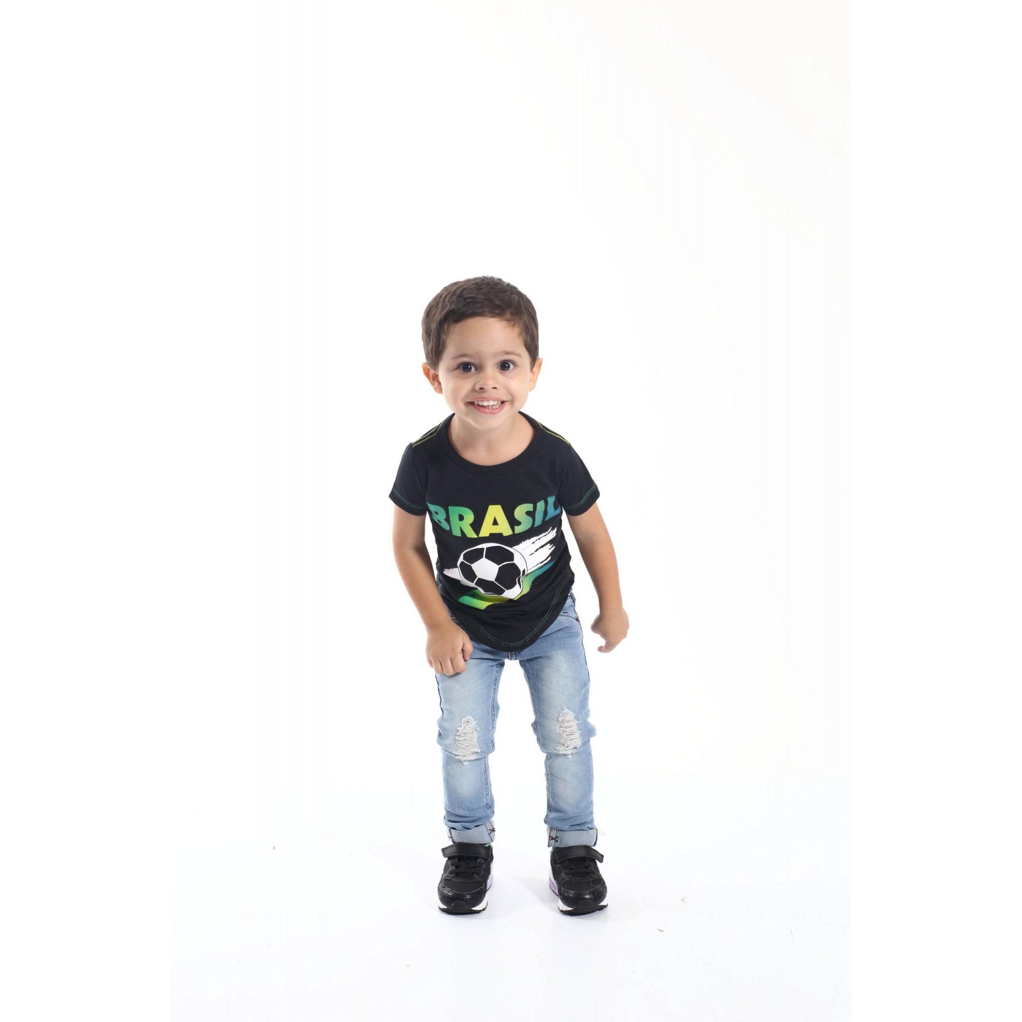 Camiseta Long Infantil Brasil
