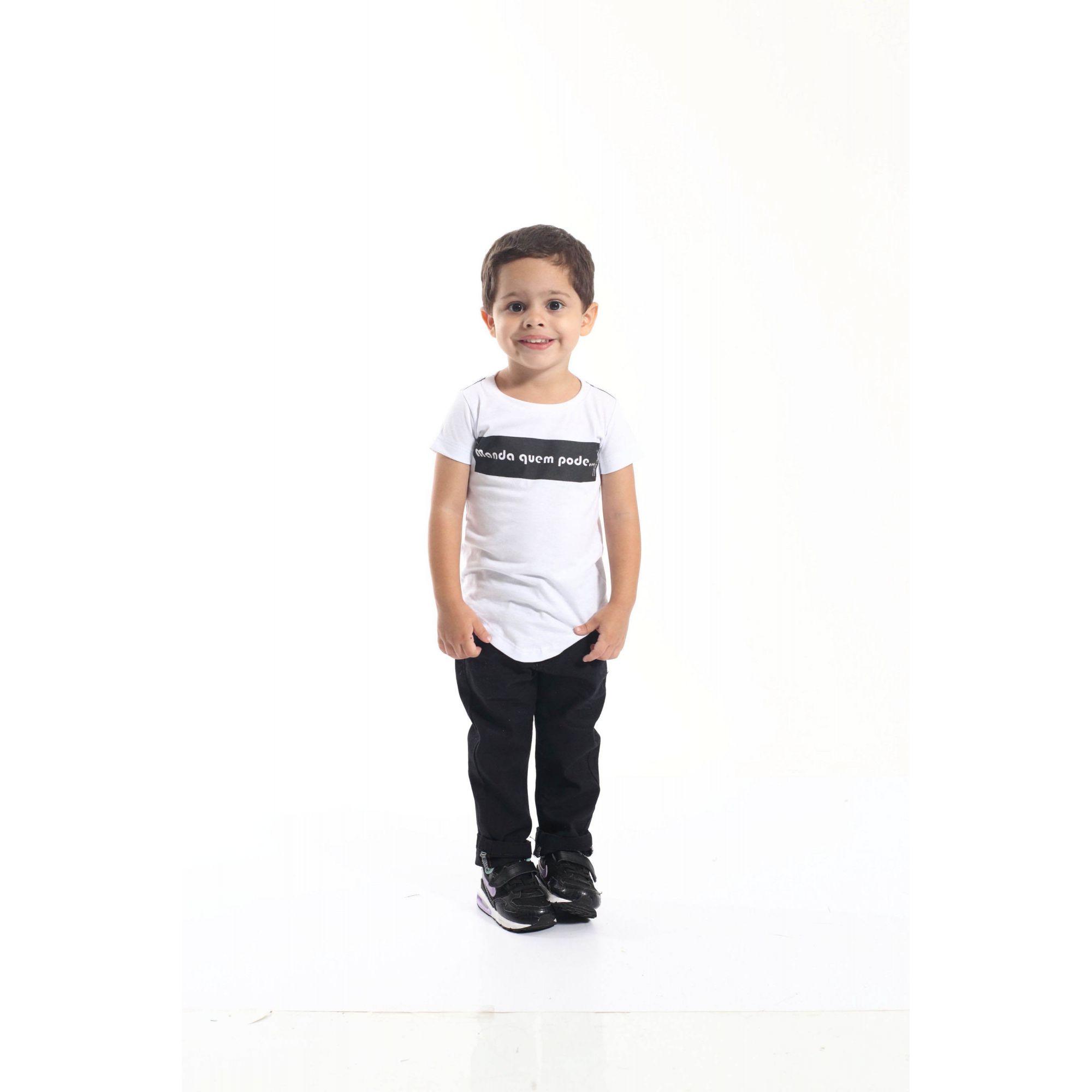 Camiseta Long Infantil Manda Quem Pode  - Heitor Fashion Brazil
