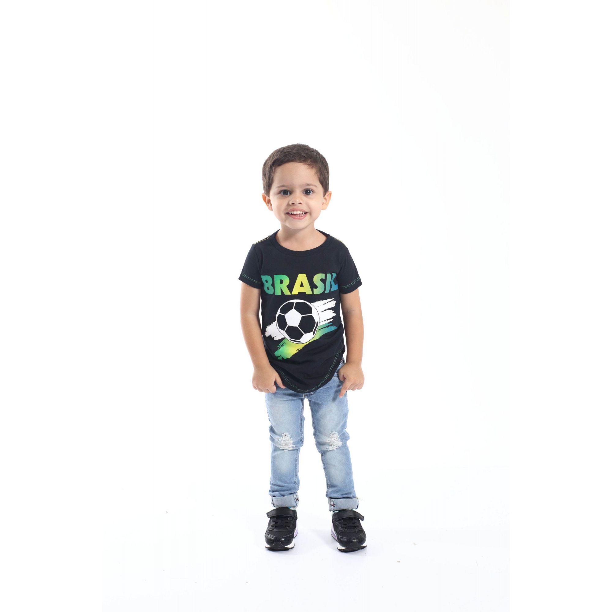Camiseta Long Preta Infantil Unissex Brasil