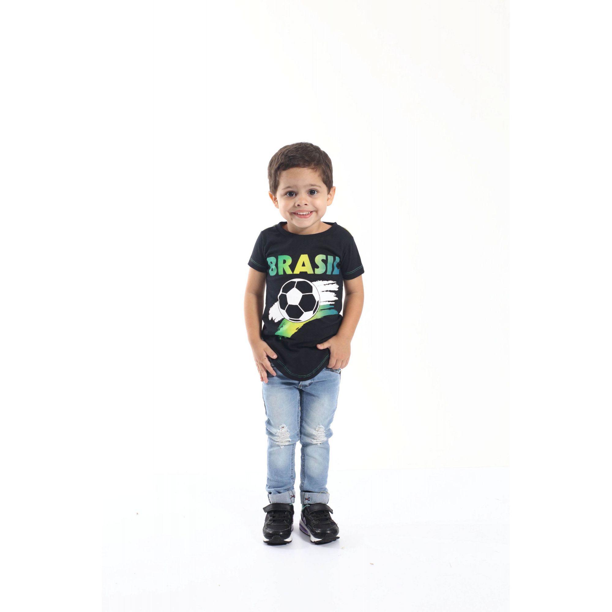 Camiseta Long Preta Infantil Unissex Brasil  - Heitor Fashion Brazil