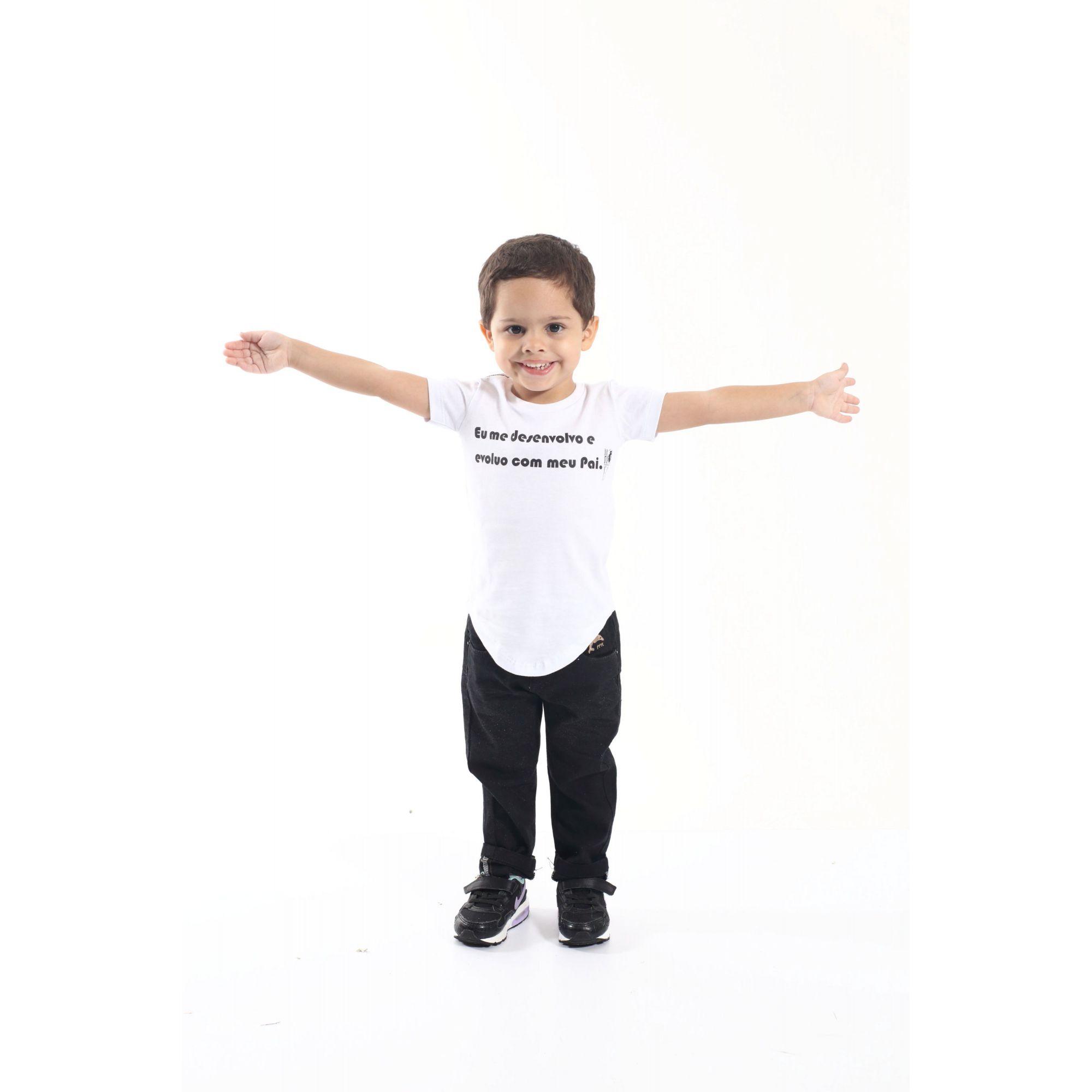 Camiseta Long Preta Infantil Desenvolvo Com Meu Pai