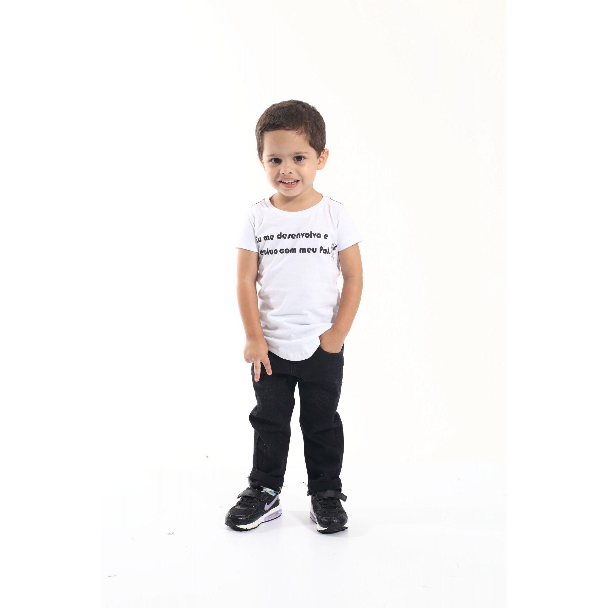 Camiseta Long Preta Infantil Desenvolvo Com Meu Pai  - Heitor Fashion Brazil