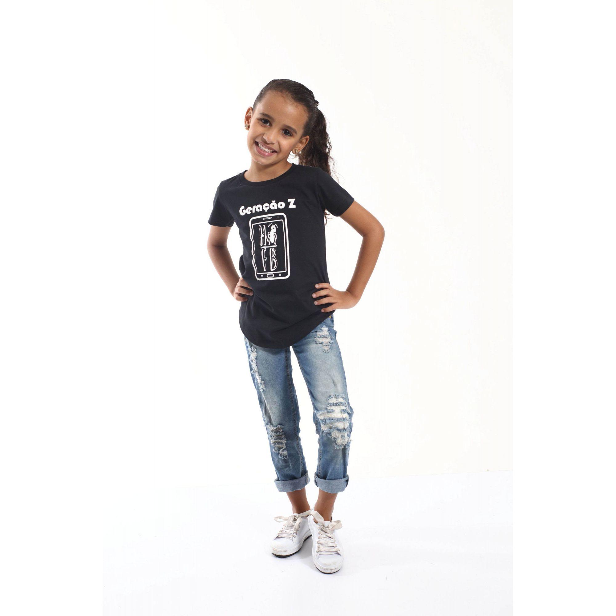 Camiseta Long Preta Infantil Geração Z - Unissex