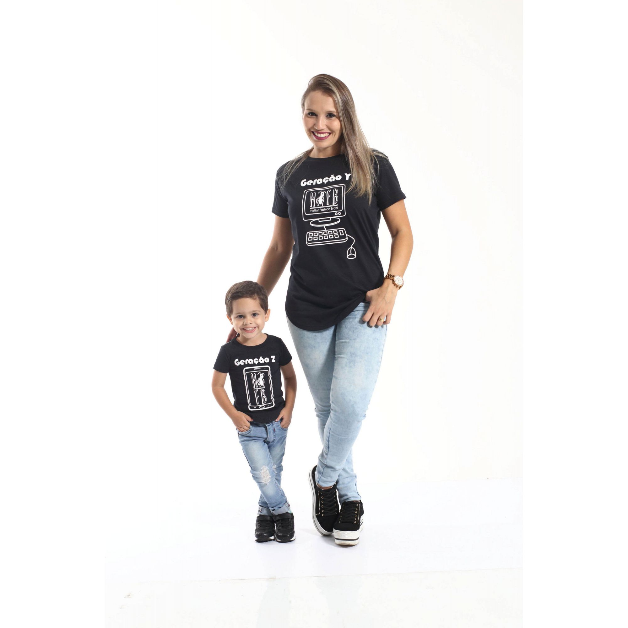 Camiseta Long Preta Infantil Geração Z - Unissex  - Heitor Fashion Brazil