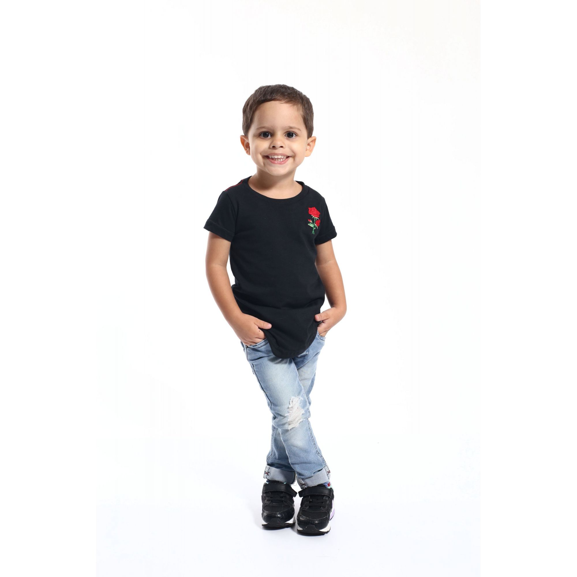 Camiseta Long Preta Infantil Rosa Bordada - Heitor Fashion Brazil