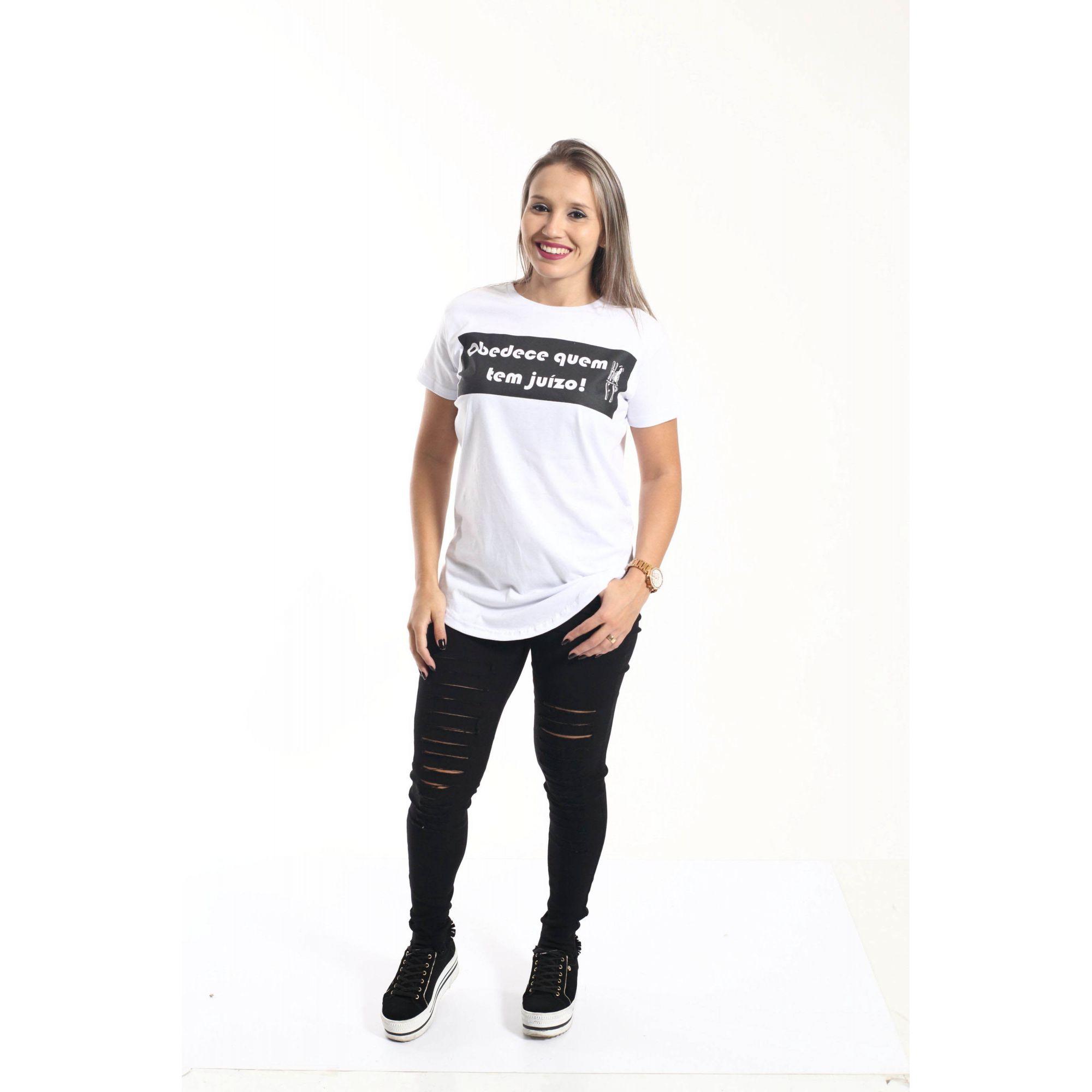 Camiseta Long Unissex Obedece Quem Tem Juízo  - Heitor Fashion Brazil