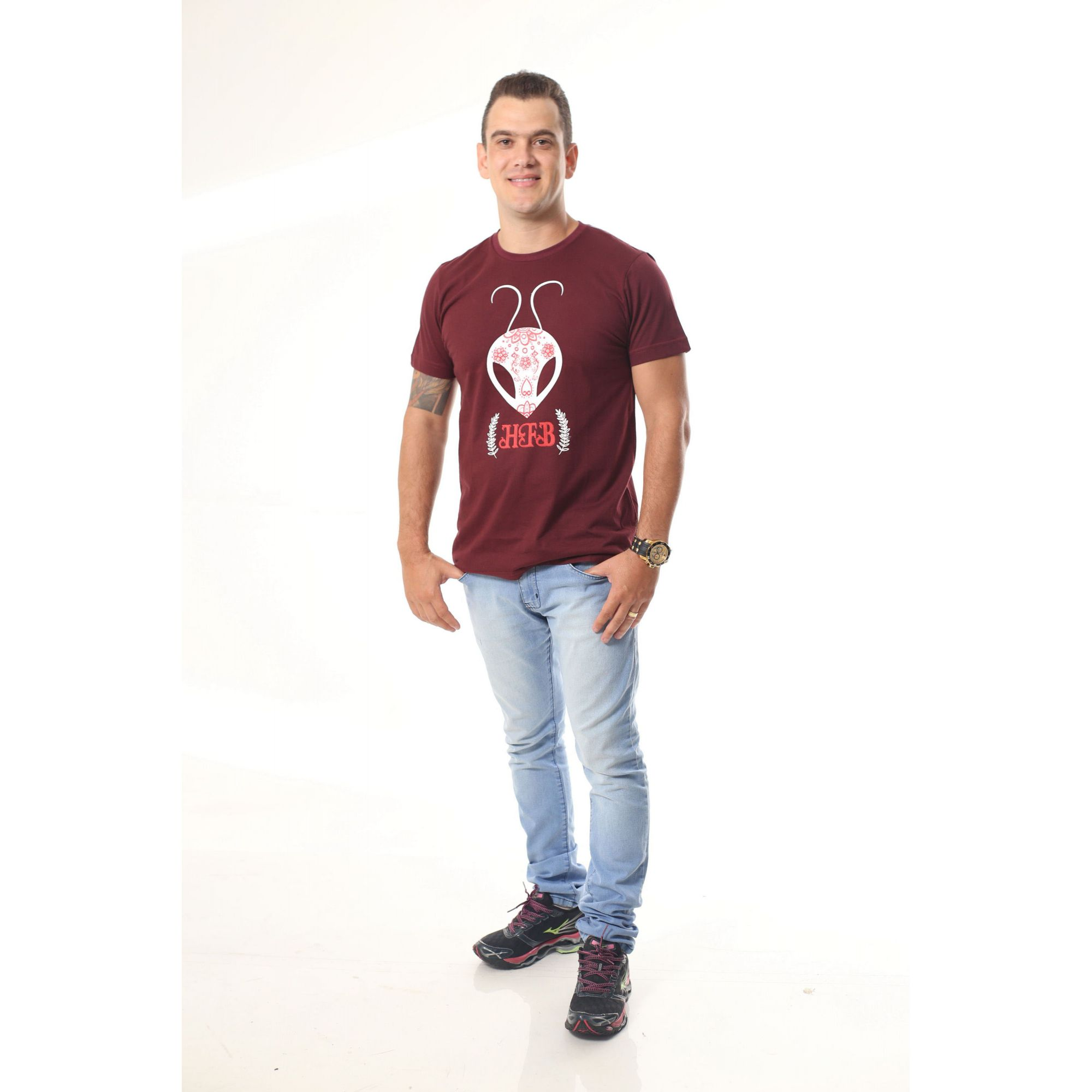 Camiseta Masculina Bordo HFB  - Heitor Fashion Brazil
