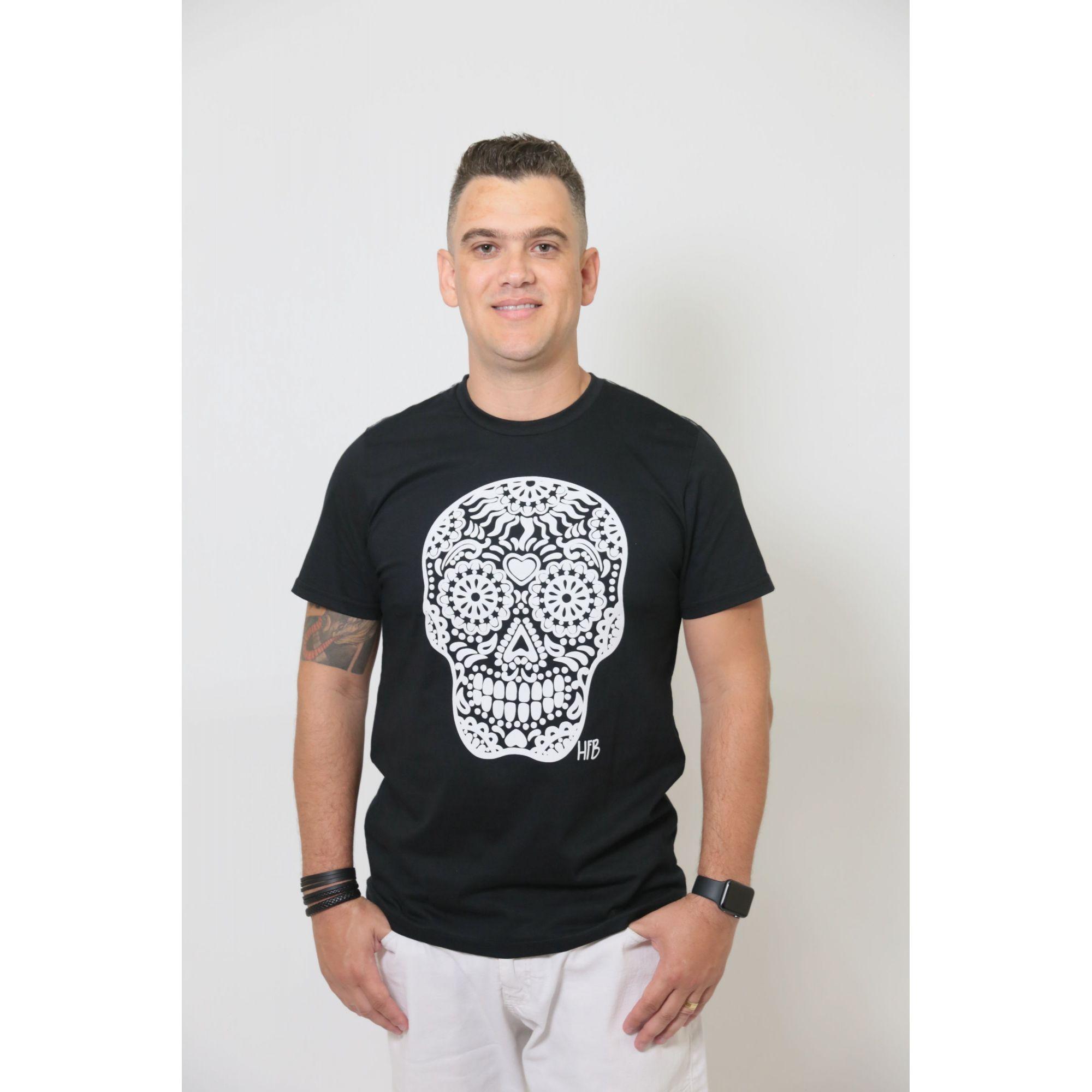 Camiseta Masculina Preta Caveira Alto Relevo  - Heitor Fashion Brazil