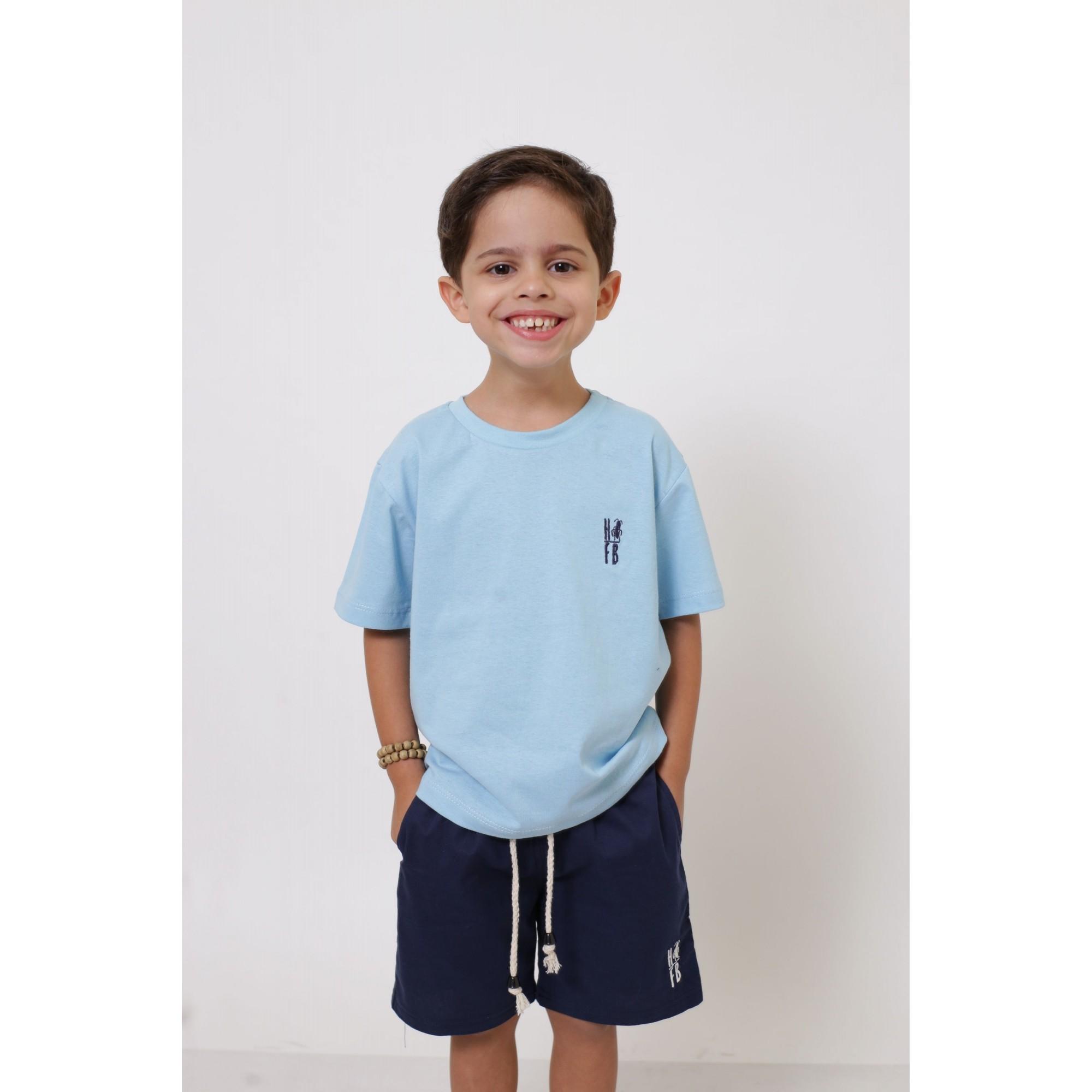 Camiseta ou Body Infantil Unissex - Azul Bebê  - Heitor Fashion Brazil