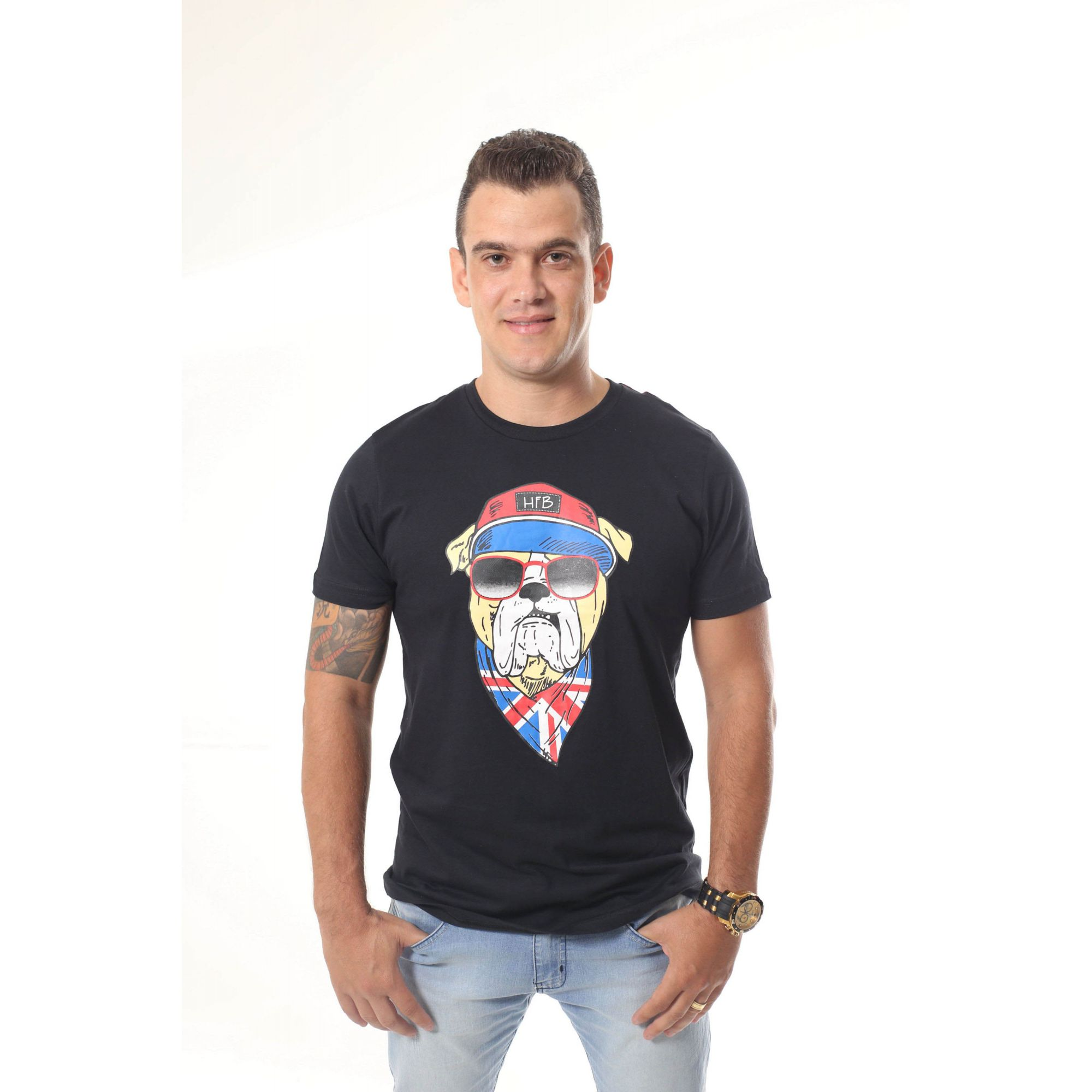Camiseta Preta Cachorro Bulldog Inglês  - Heitor Fashion Brazil