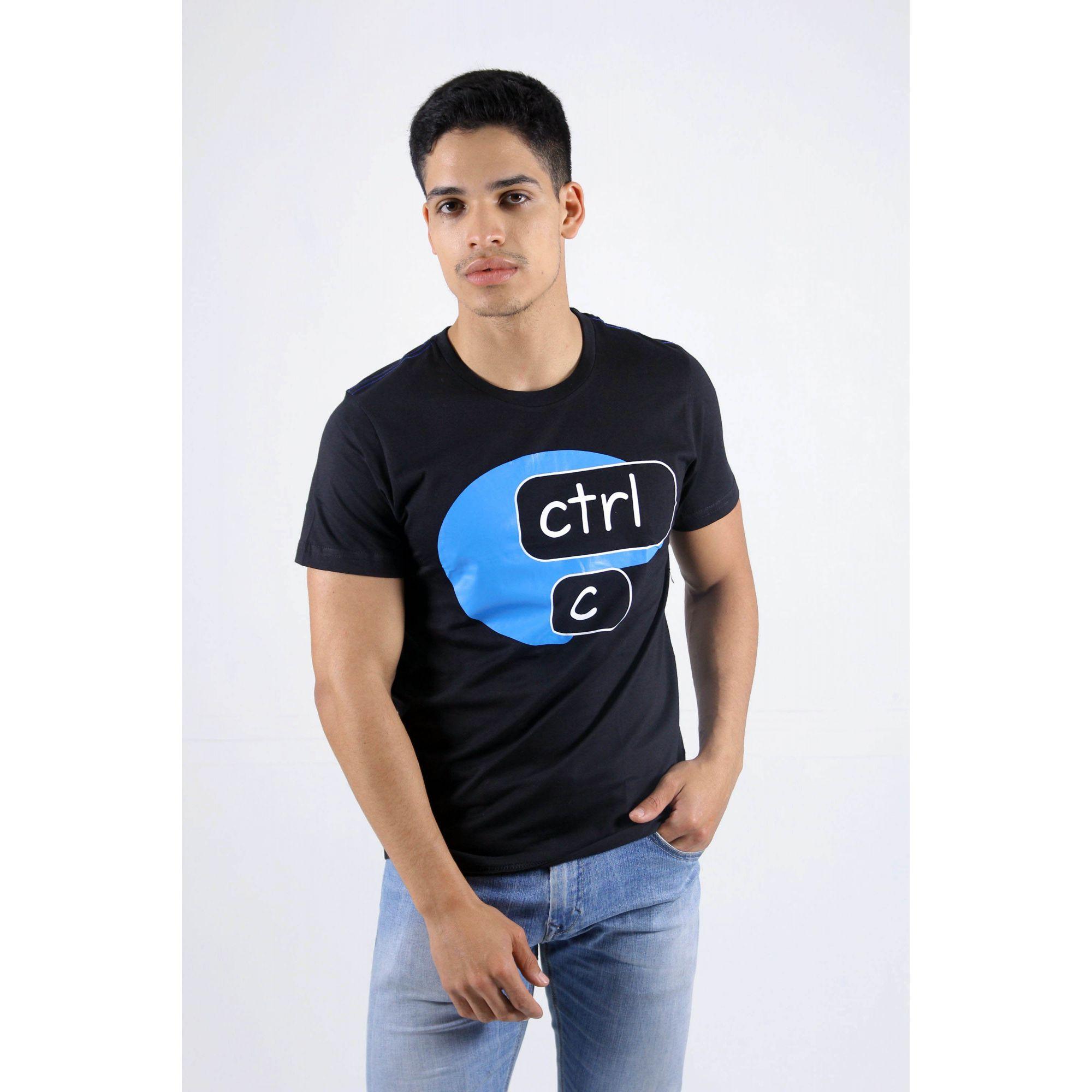 Camiseta Preta CTRL-C - Azul