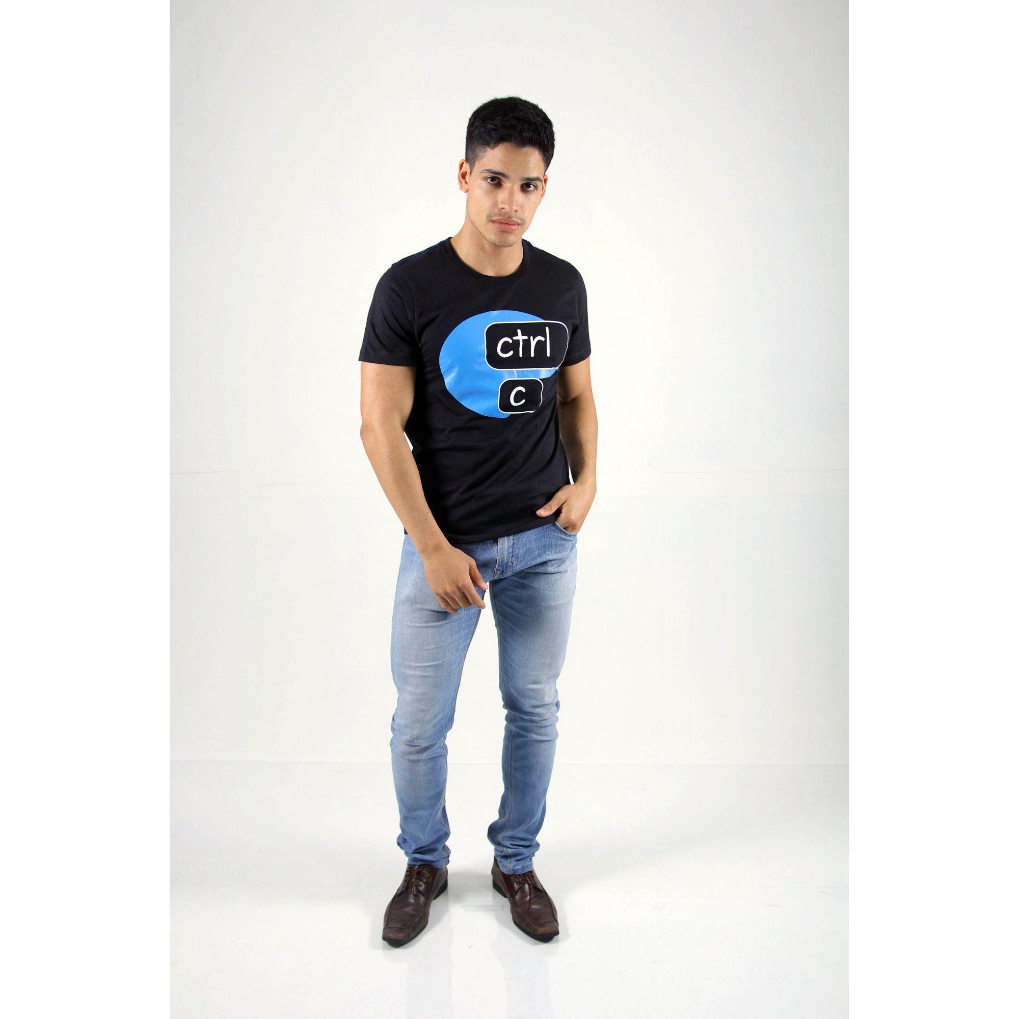 Camiseta Preta CTRL-C - Azul  - Heitor Fashion Brazil