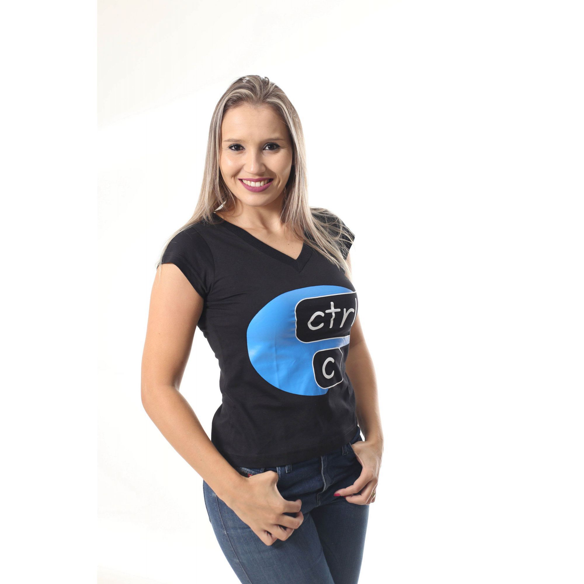 Camiseta Preta Feminina Ctrl-C - Azul  - Heitor Fashion Brazil