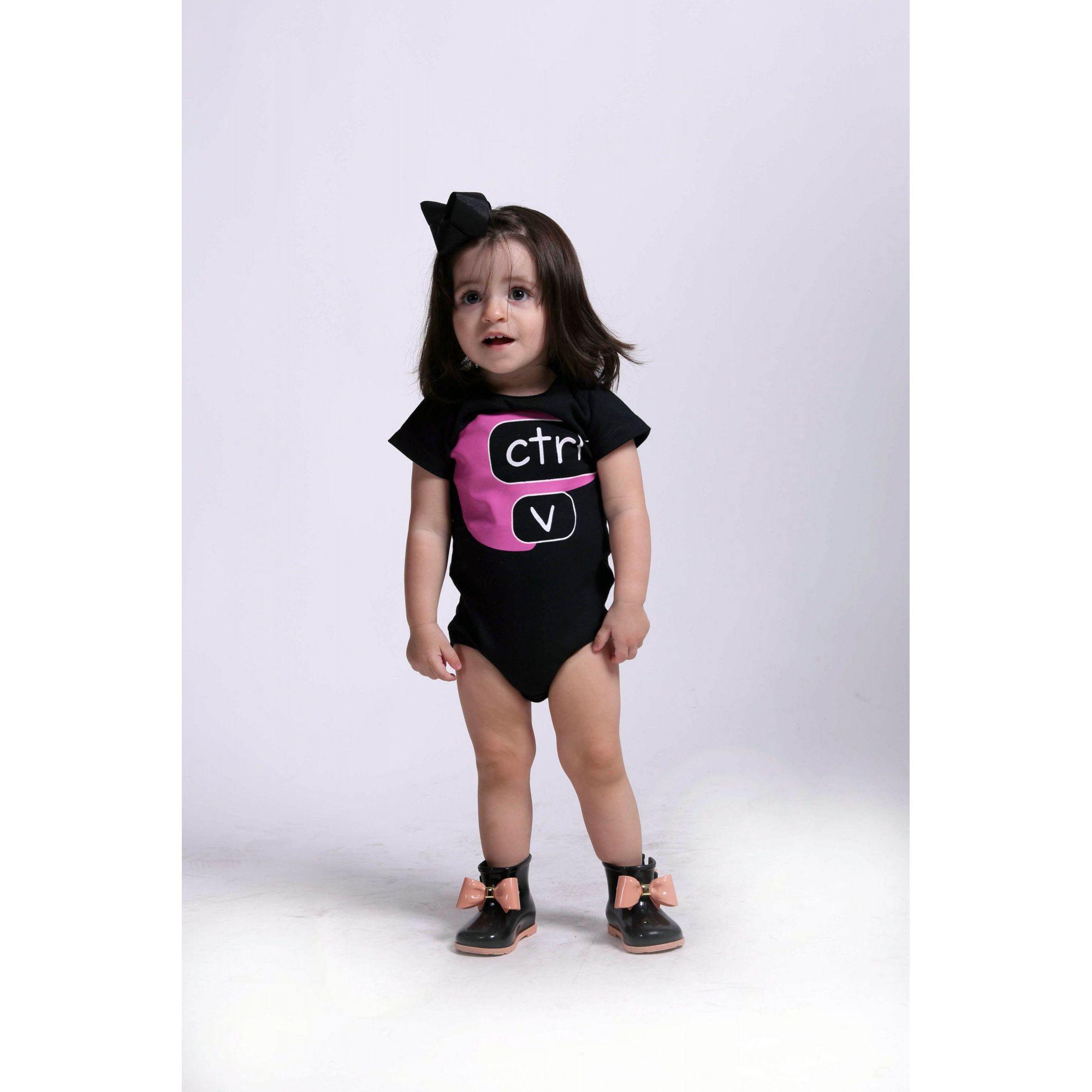 Camiseta Preta Infantil Ctrl-V Rosa  - Heitor Fashion Brazil