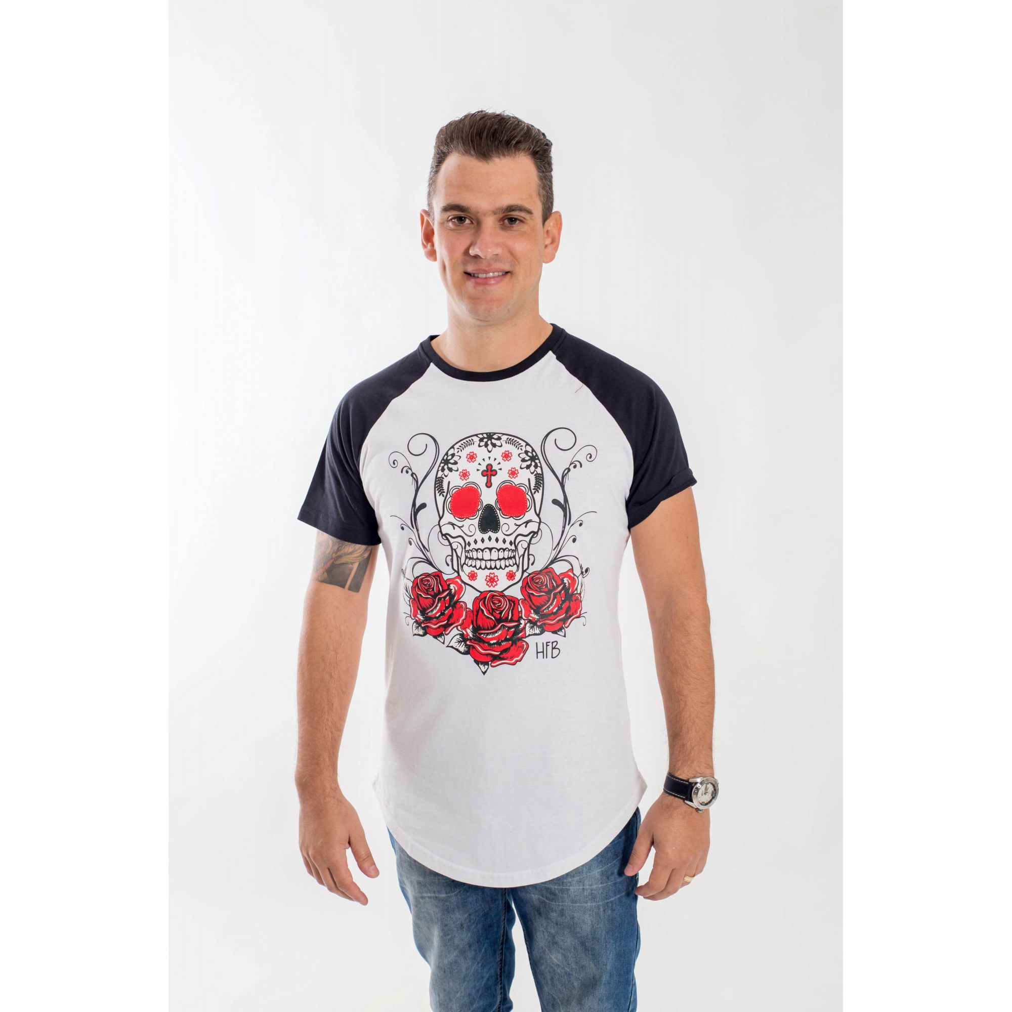 Camiseta Raglan Long Caveira Mexicana Masculina