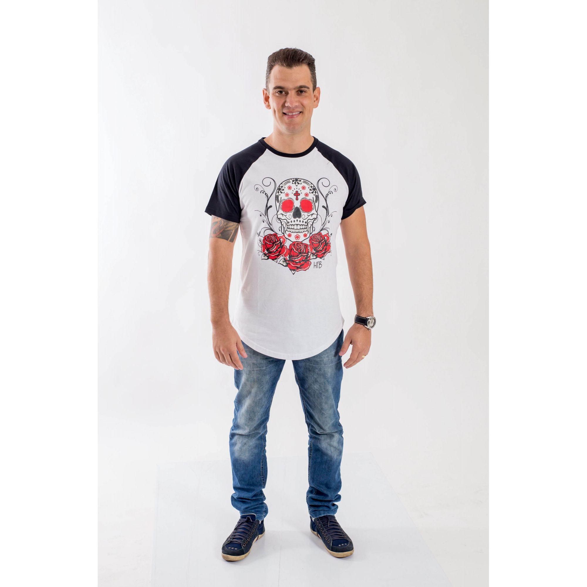 Camiseta Raglan Long Caveira Mexicana Masculina  - Heitor Fashion Brazil
