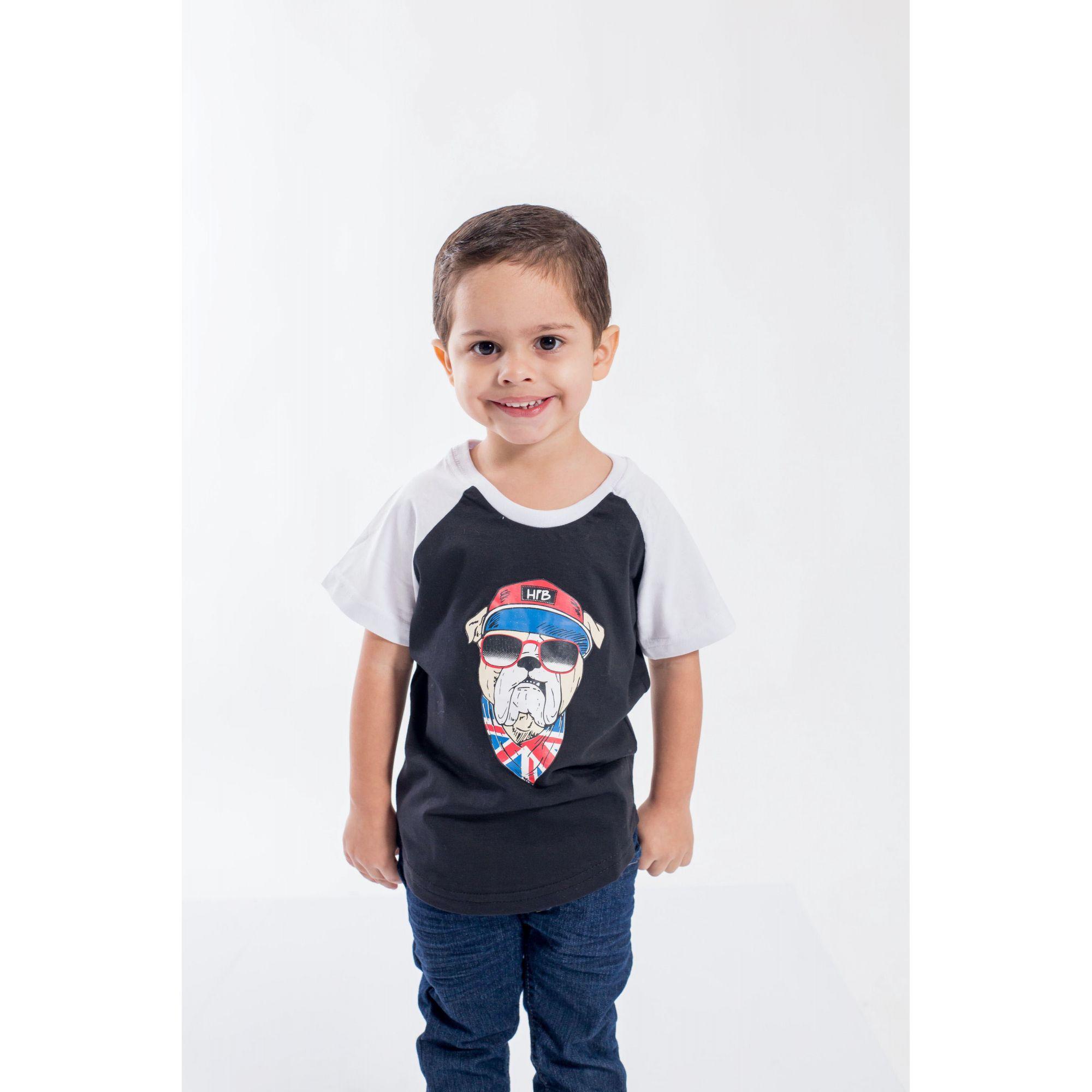 Camiseta Raglan Long Infantil Masculina Bulldog Inglês