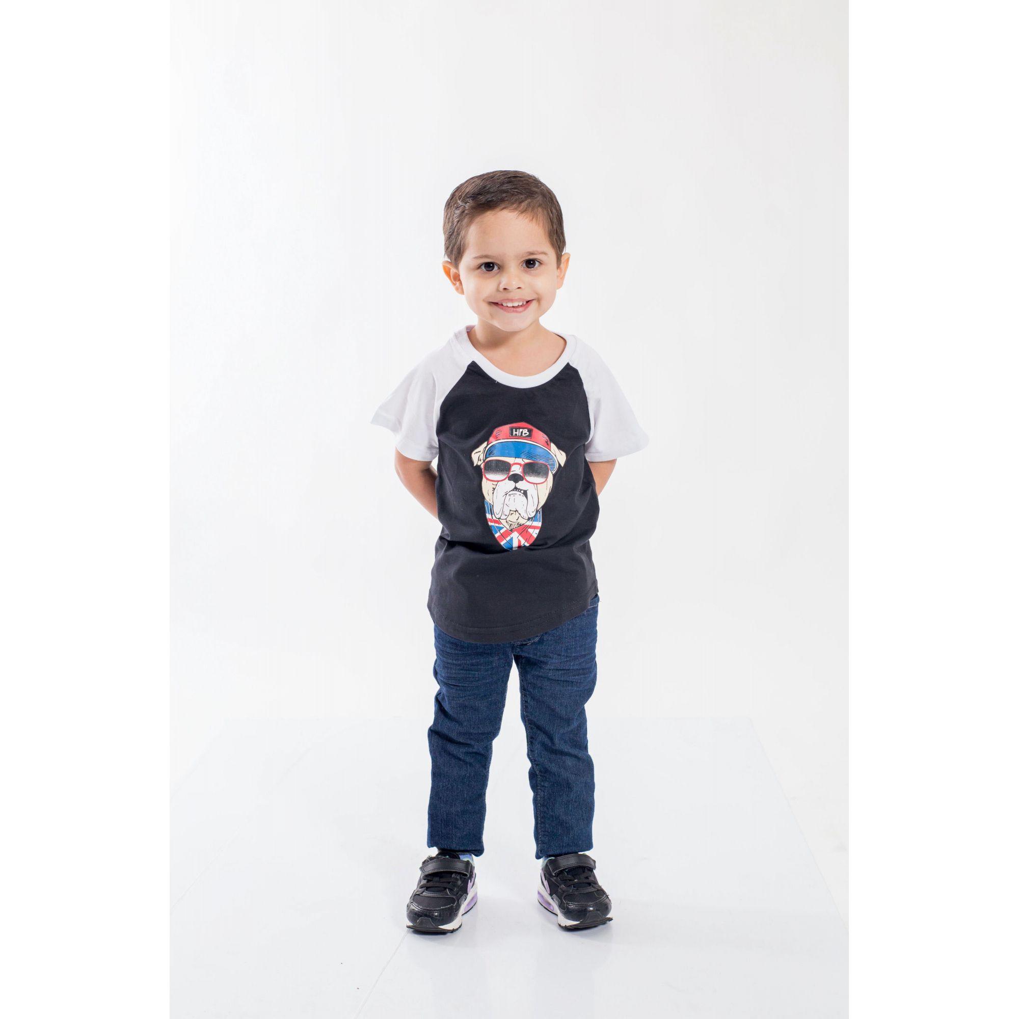 Camiseta Raglan Long Infantil Masculina Bulldog Inglês  - Heitor Fashion Brazil