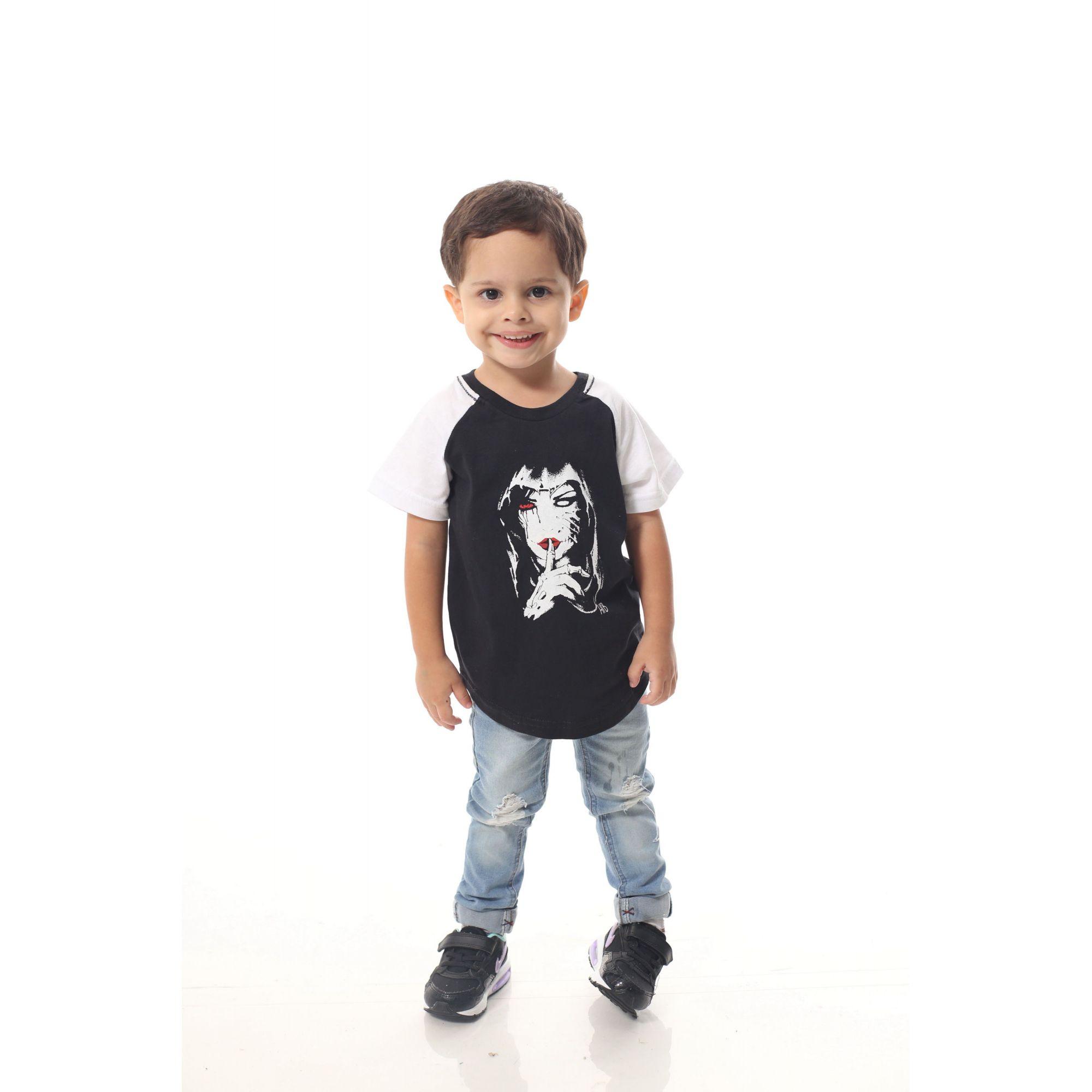 Camiseta Raglan Long Infantil Masculina Silencio