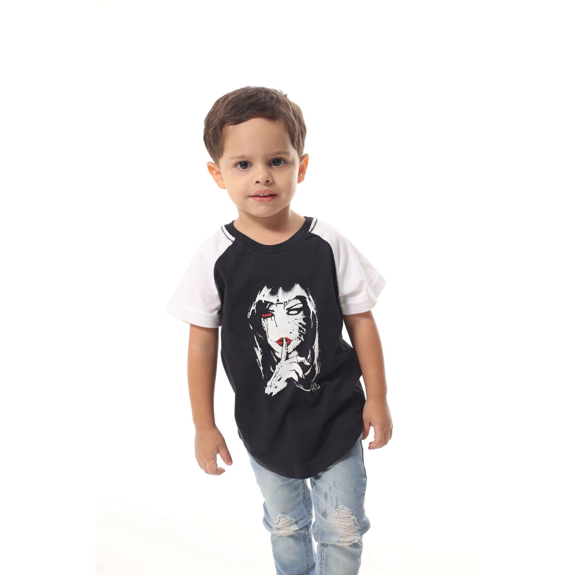 Camiseta Raglan Long Infantil Masculina Silencio  - Heitor Fashion Brazil
