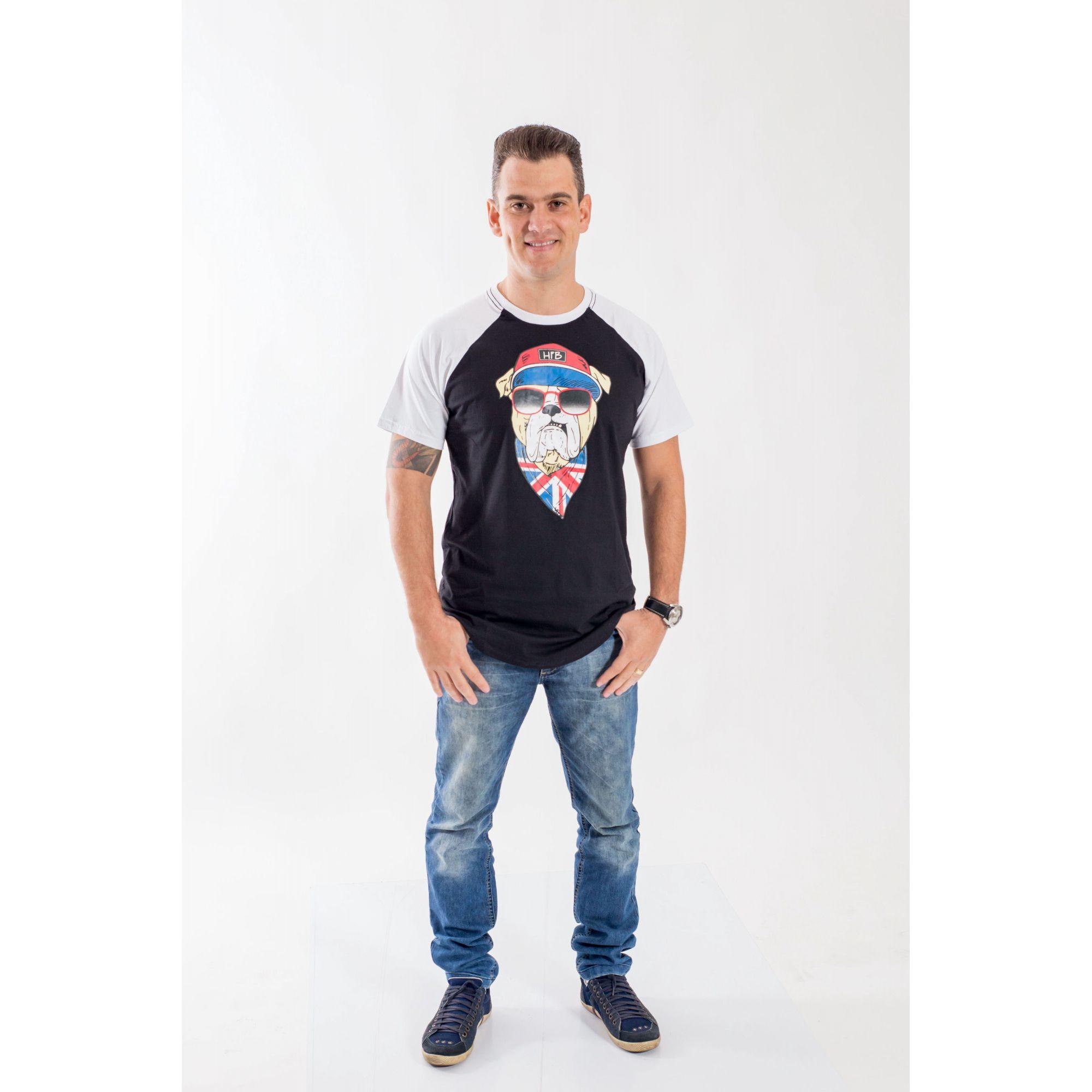 Camiseta Raglan Long Masculina  Bulldog Inglês