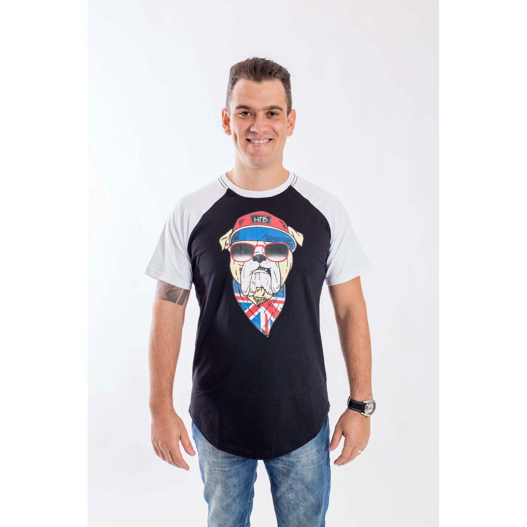 Camiseta Raglan Long Masculina  Bulldog Inglês  - Heitor Fashion Brazil