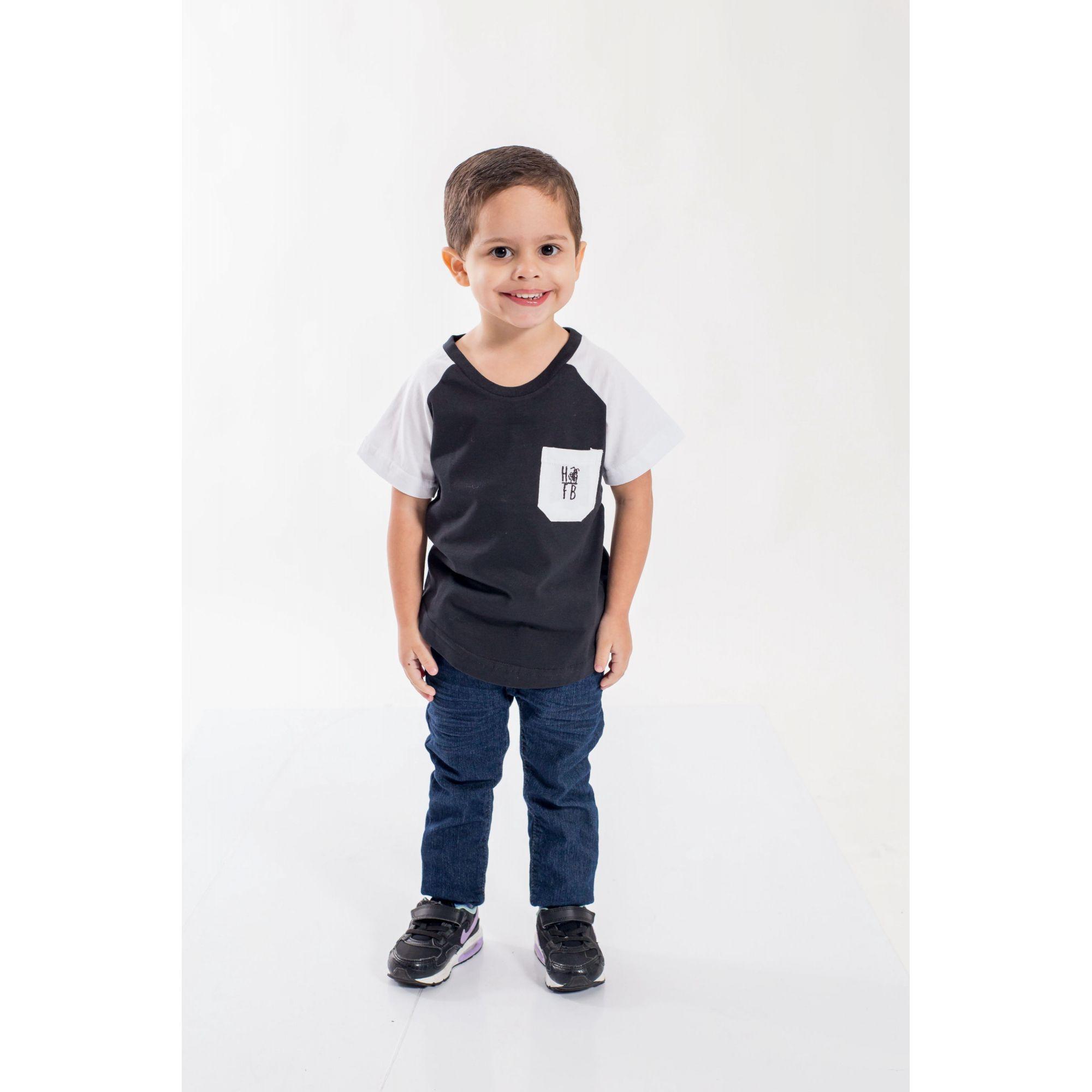 Camiseta Raglan Long Preta com Bolso Branco Infantil