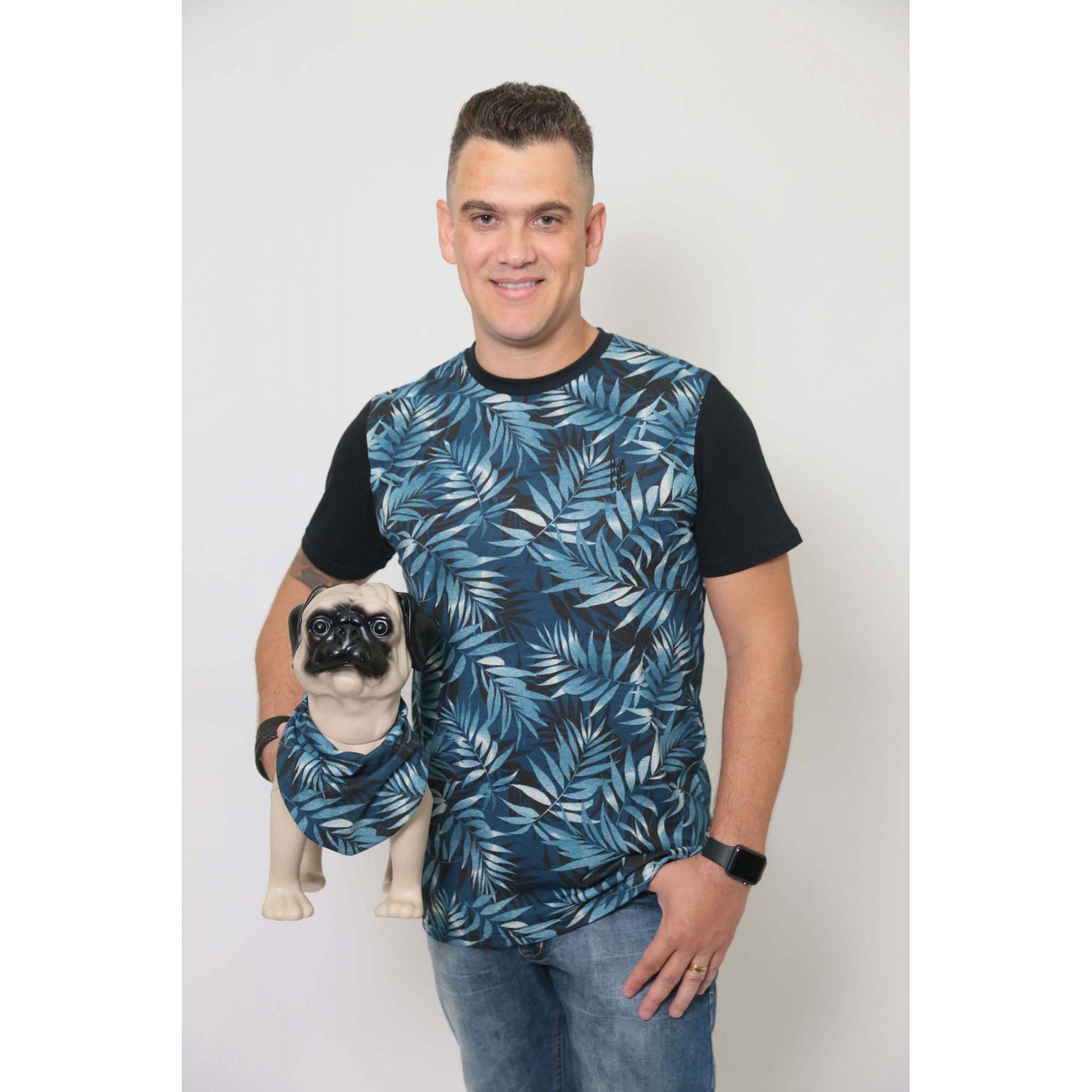 PAI E PET > Kit 02 Peças - T-shirt + Bandana Tropical [Coleção Tal Pai Tal Pet]