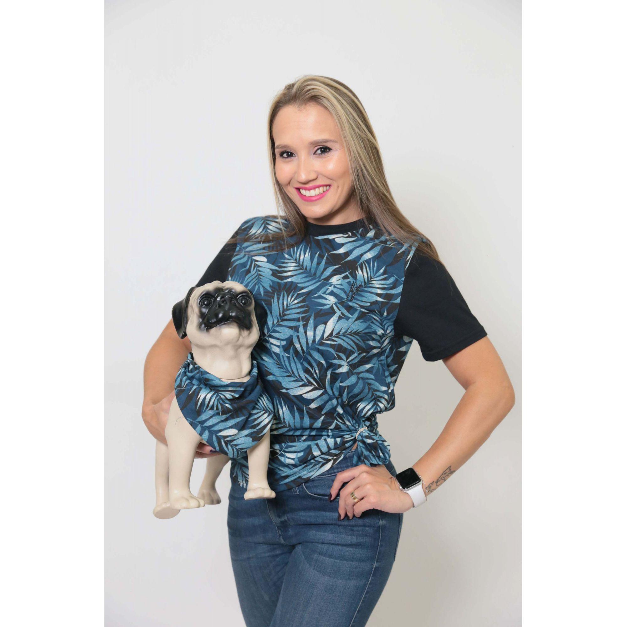 MÃE e PET > kit 02 Peças - T-shirt + Bandana Tropical Unissex [Coleção Tal Mãe Tal Pet]  - Heitor Fashion Brazil