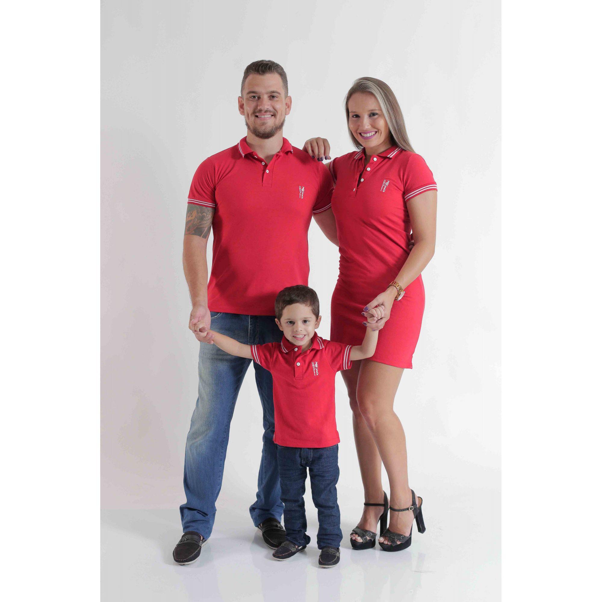 PAIS E FILHOS > Kit 3 peças Camisas ou Body Polo e Vestido Vermelho Paixão [Coleção Família]