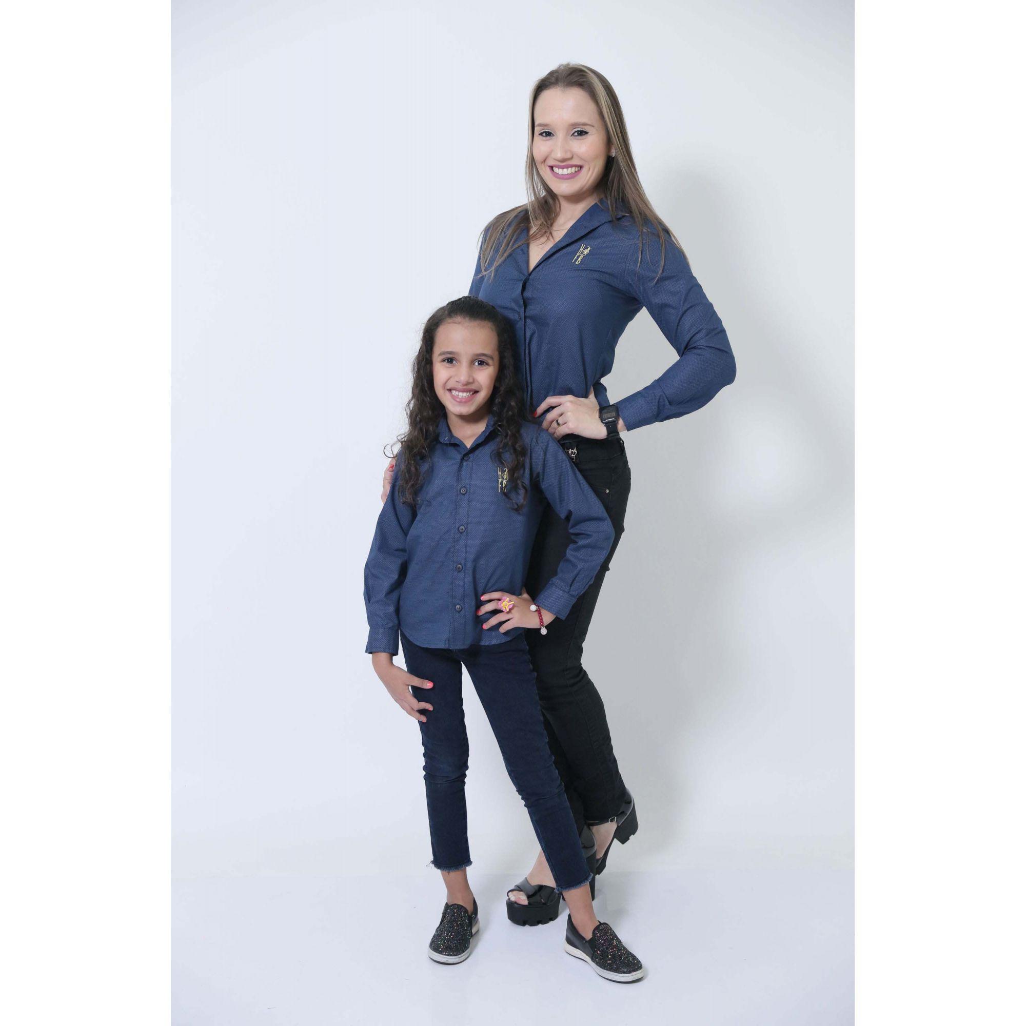 MÃE E FILHA > Kit 02 Camisas Social Azul Marinho Steve Seagal [Coleção Tal Mãe Tal Filha]